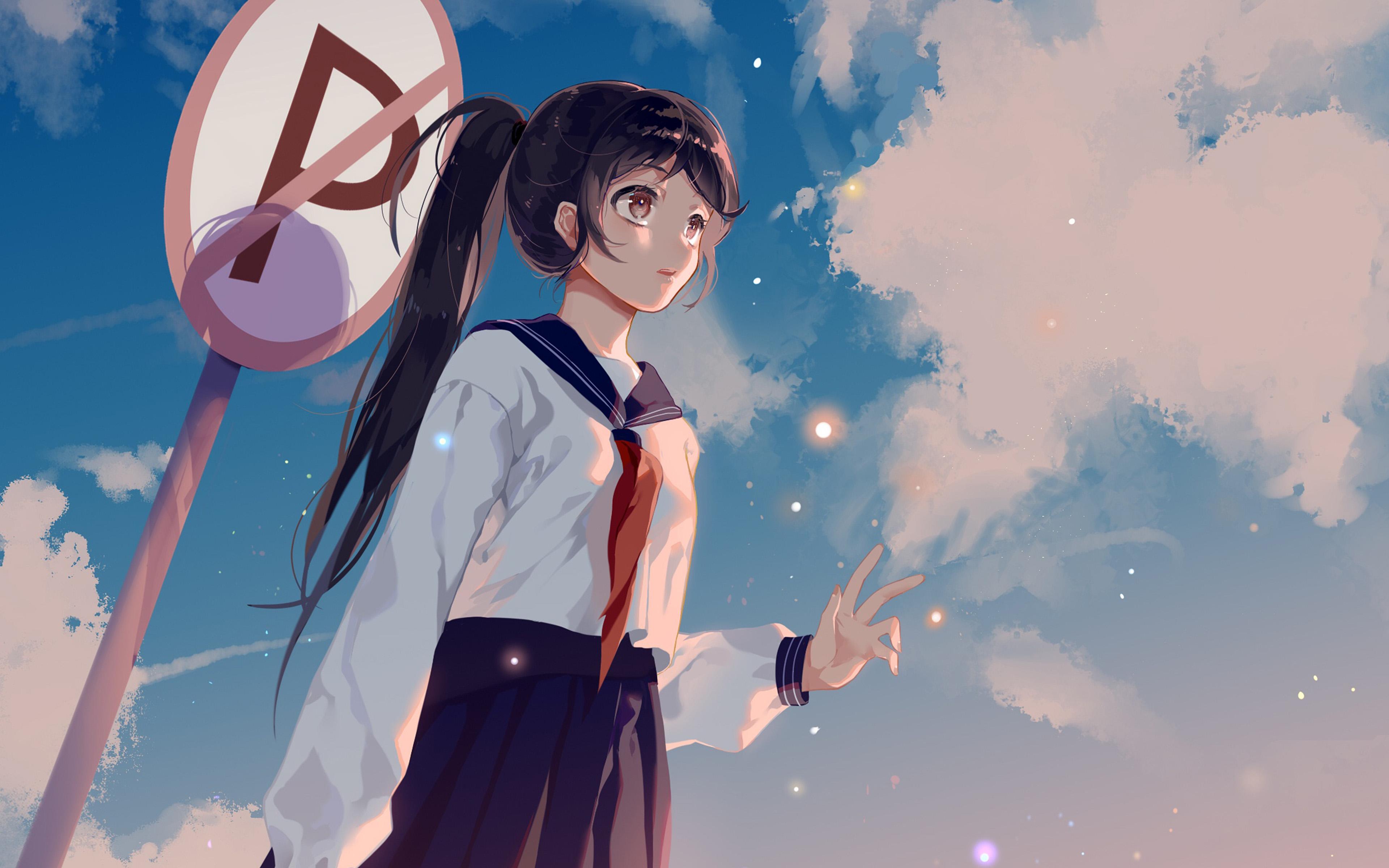 デスクトップ壁紙 アニメの女の子 女子高生 空 3840x2400