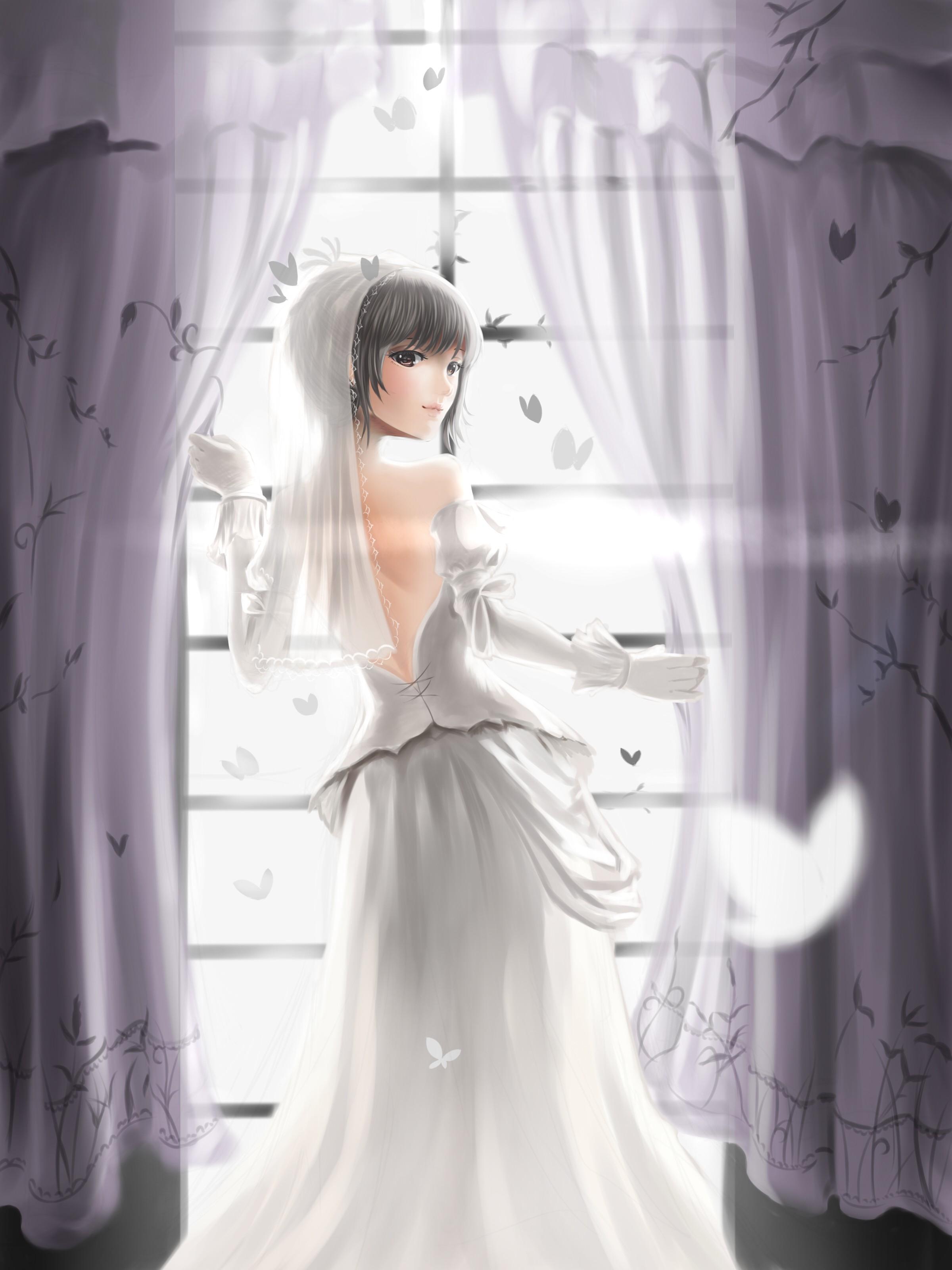 Wallpaper Anime Girls Short Hair Wedding Dress Woman Bride - Anime Wedding Dress