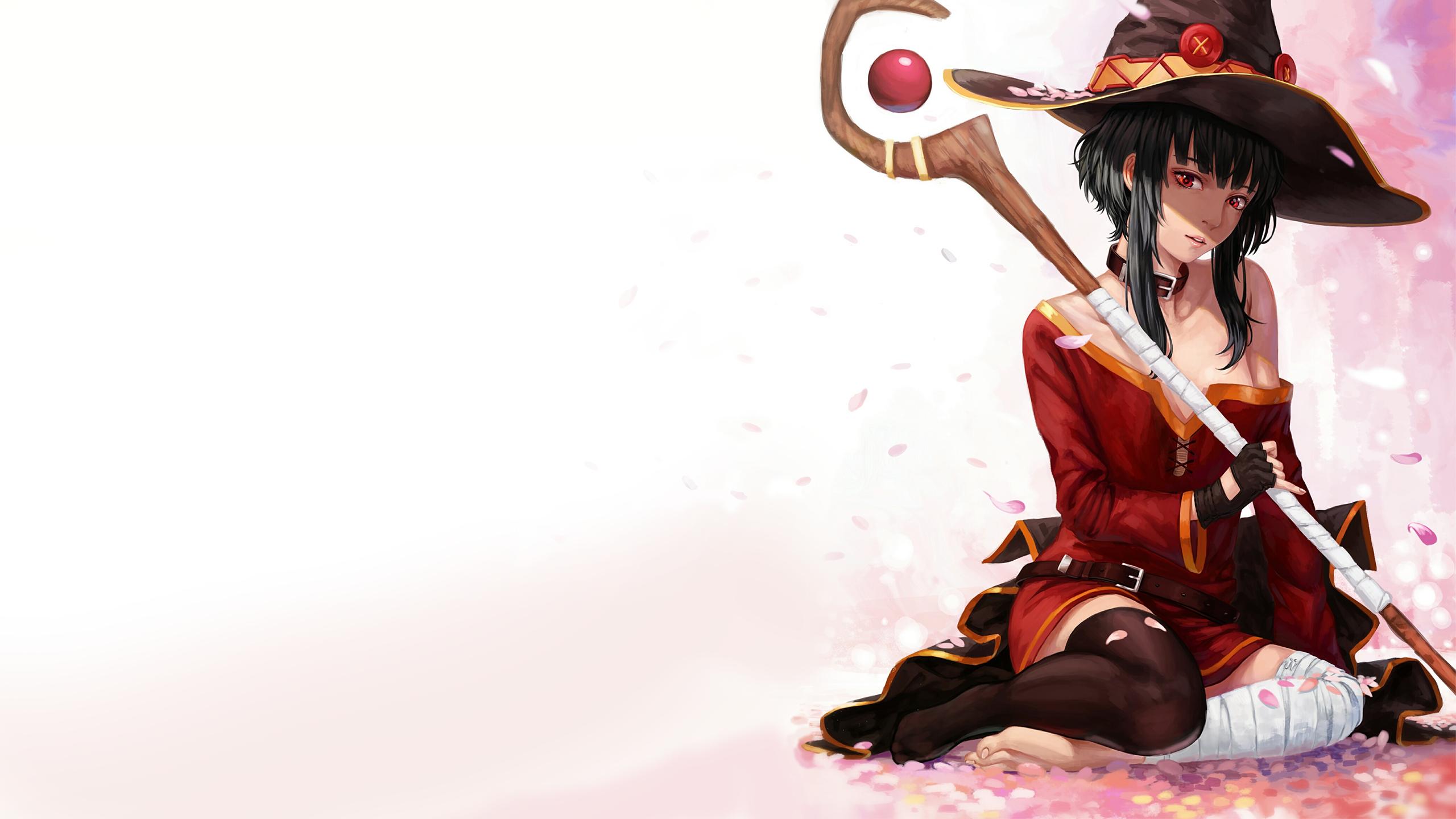 デスクトップ壁紙 アニメの女の子 ショートヘア 帽子 魔女 河北subarashii世界的には福福を メグミン 人 衣類 コスチューム 2560x1440 Sevendark デスクトップ壁紙 Wallhere