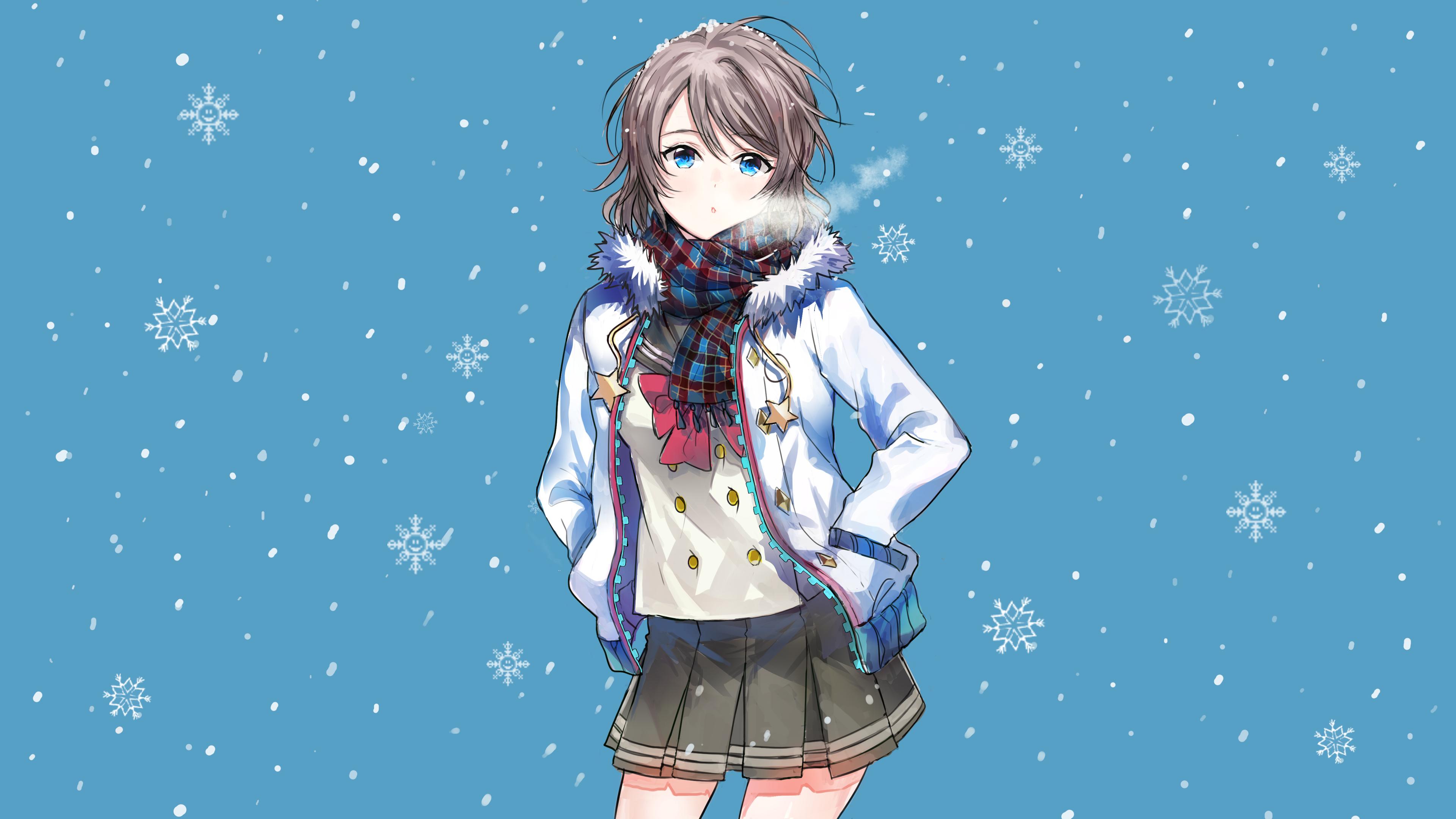 Зимние рисунки аниме