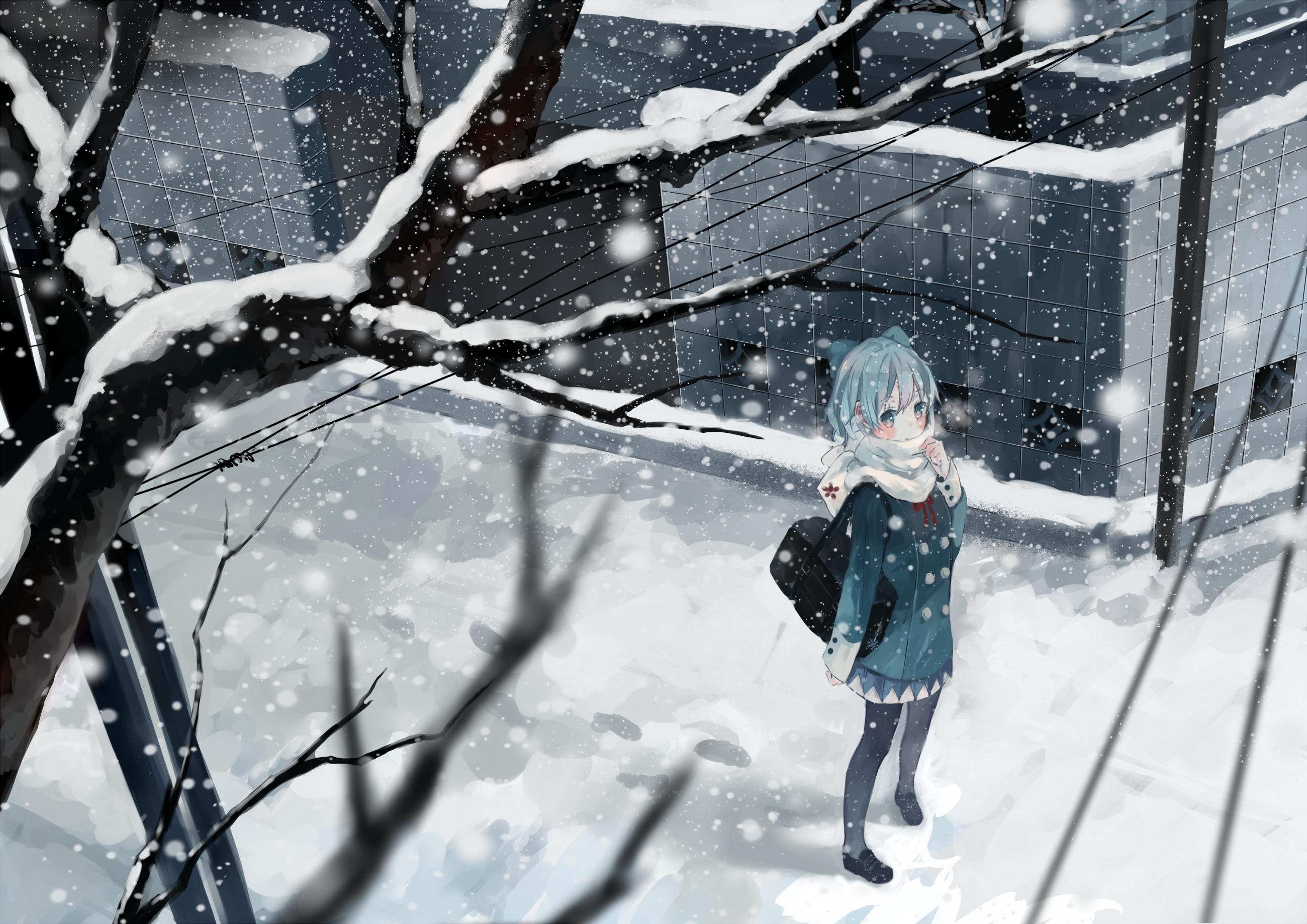 Аниме картинки зима снег