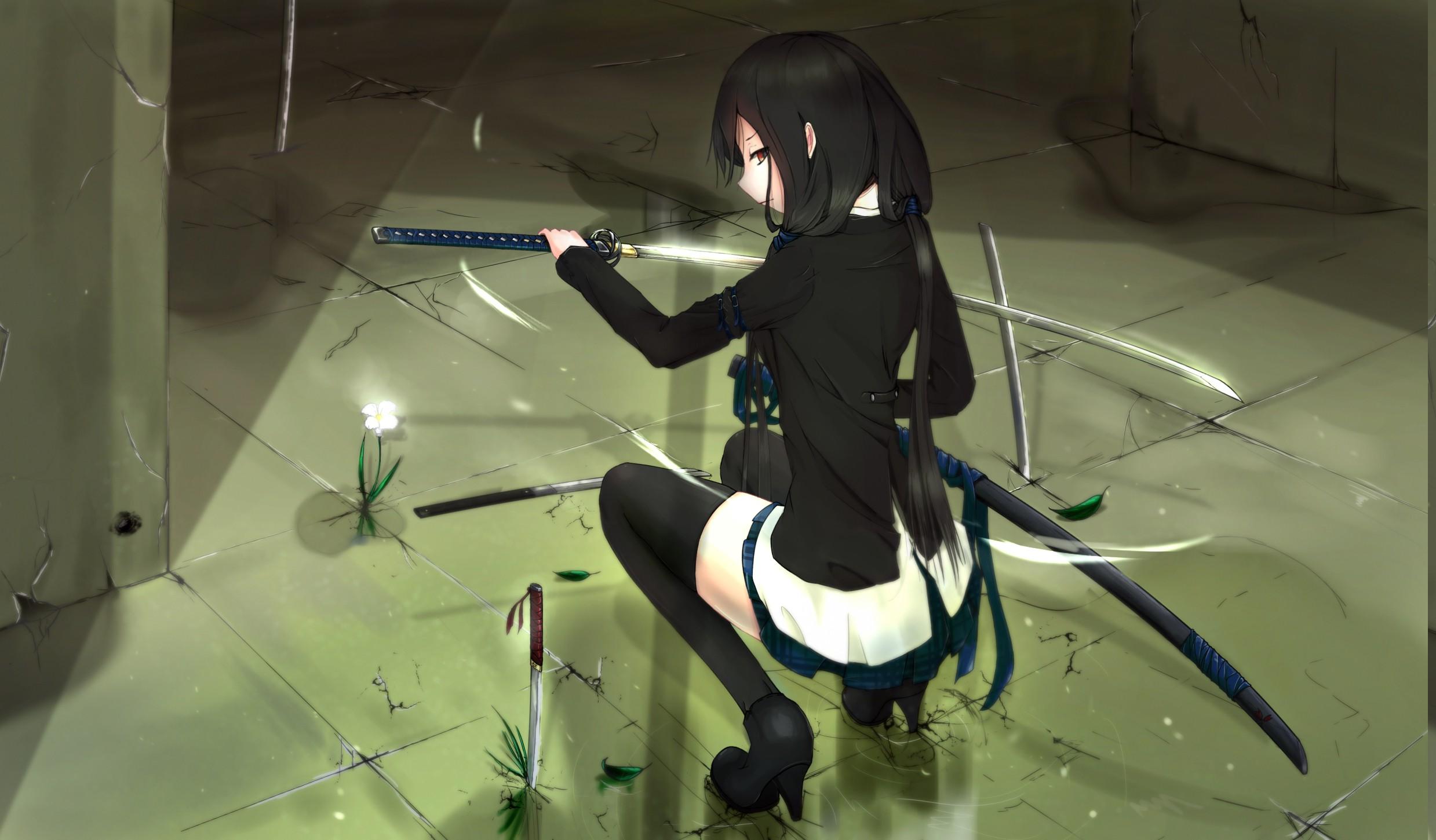 Wallpaper anime girls space stockings jacket black - Girl with sword wallpaper ...