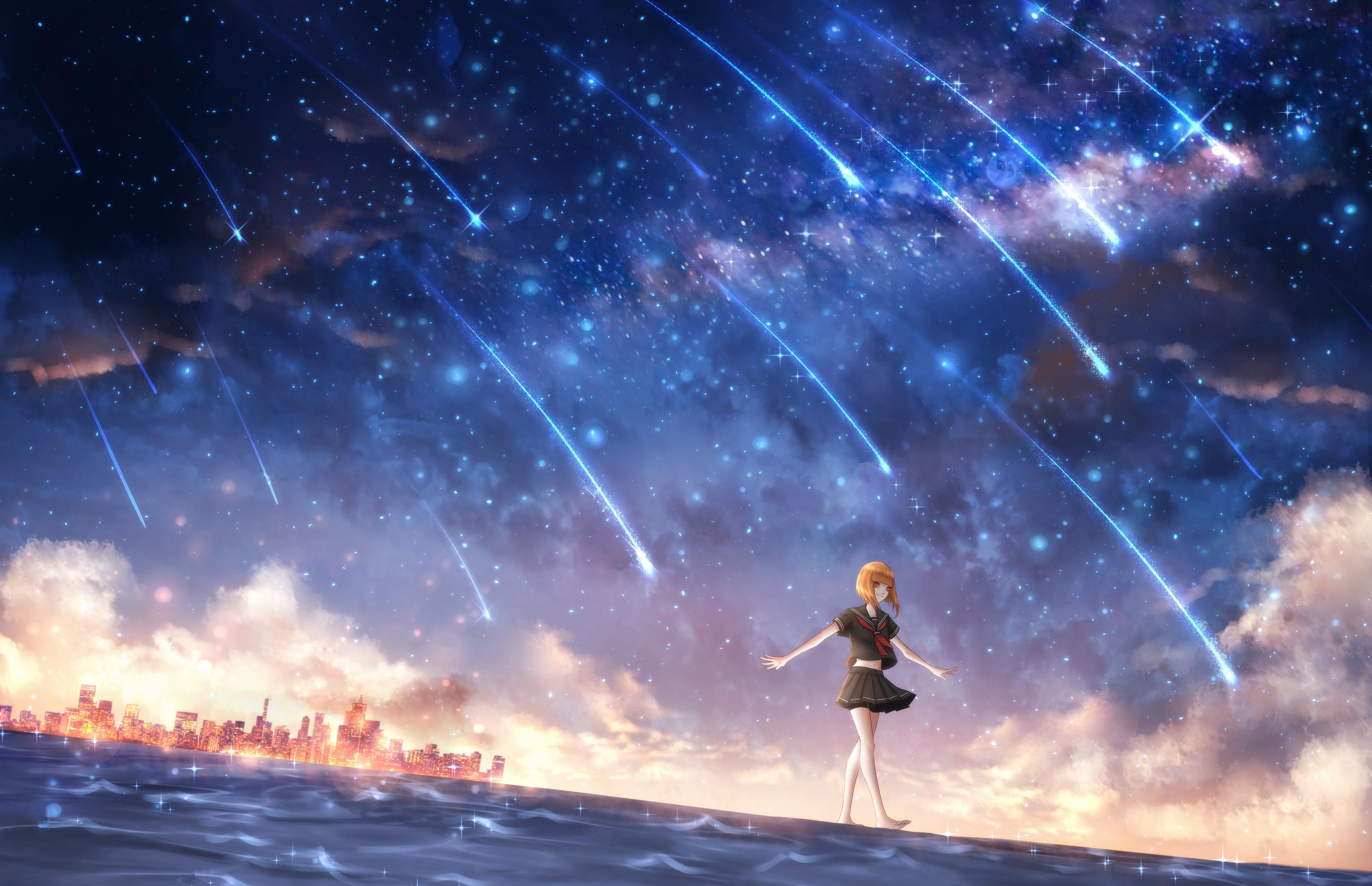 배경 화면 : 애니메이션 소녀들, 별이 빛나는 밤 3300x2130