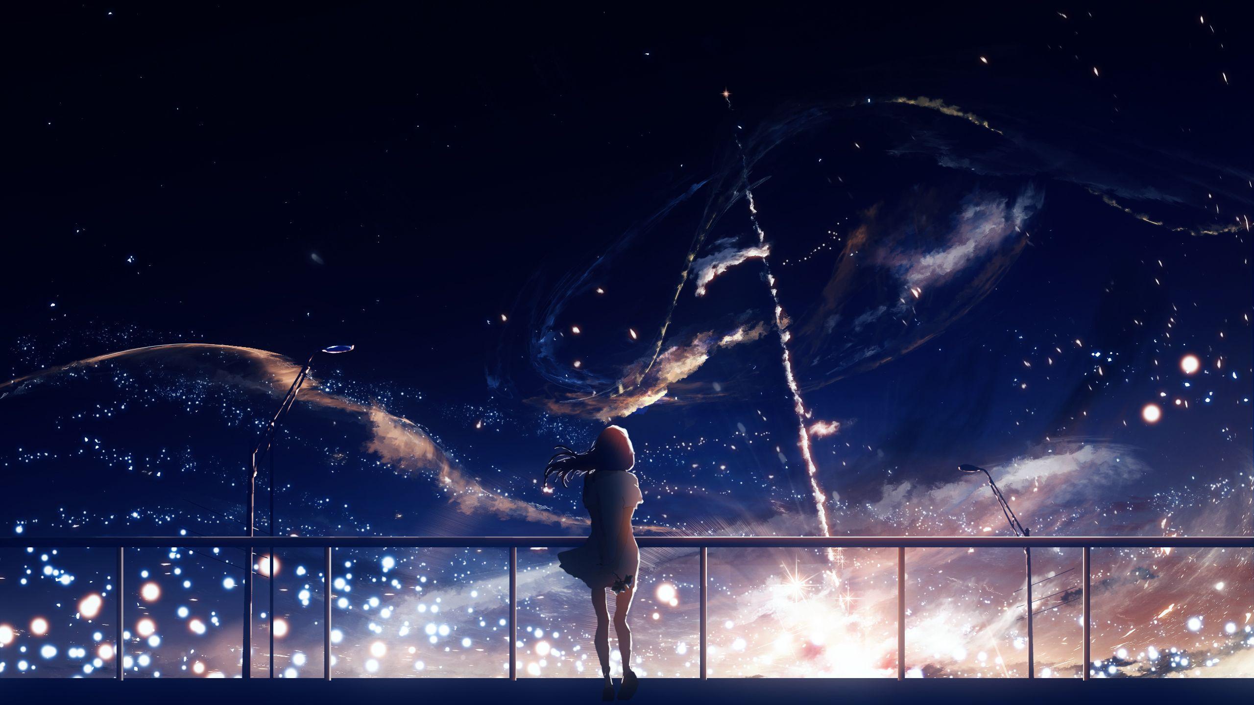Wallpaper Gadis Anime Bintang Langit Malam 2560x1440 Baldkatz 1765133 Hd Wallpapers Wallhere