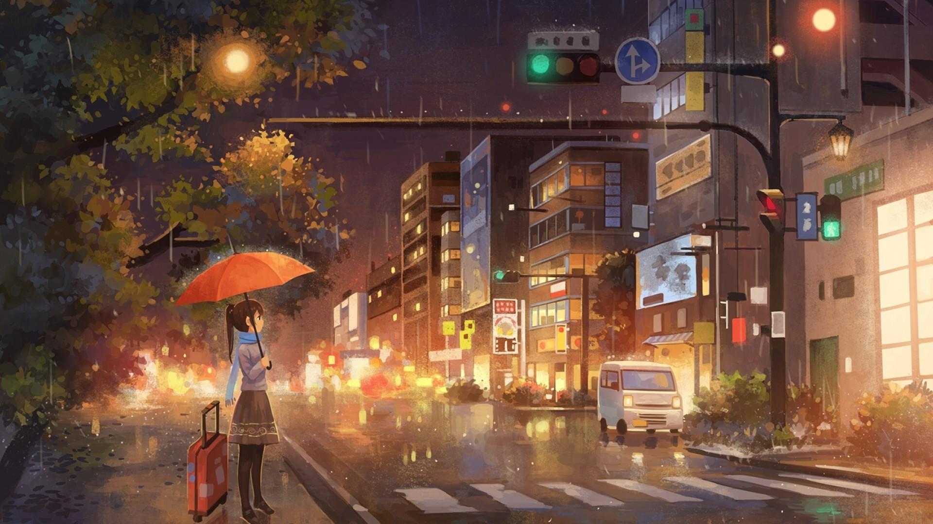 Арты дождь город