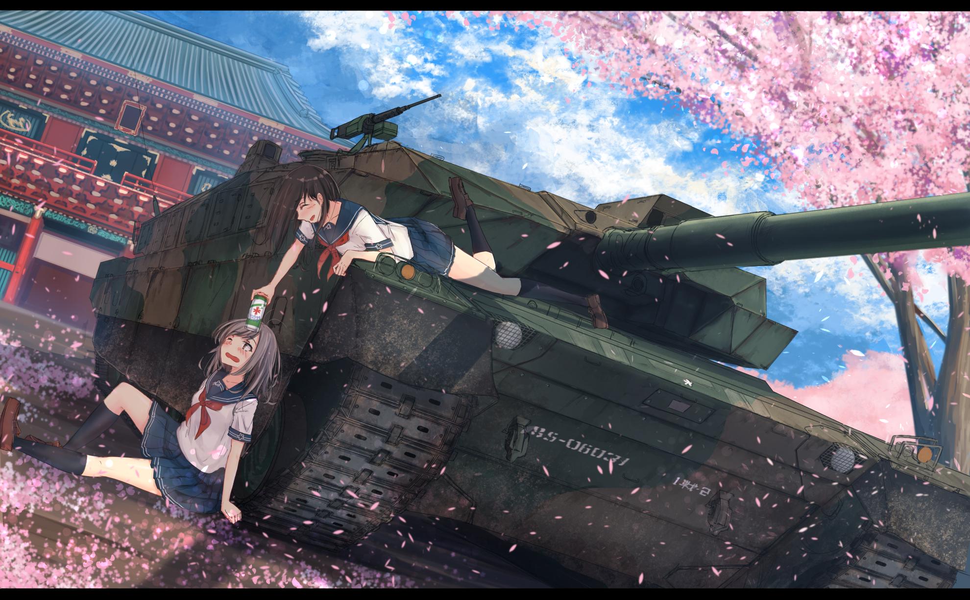 Wallpaper Anime Girls Vehicle Weapon Soldier Tank