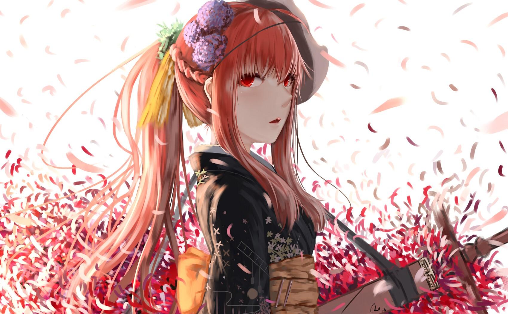 Wallpaper : anime girls, weapon, mask, sword, petals ...