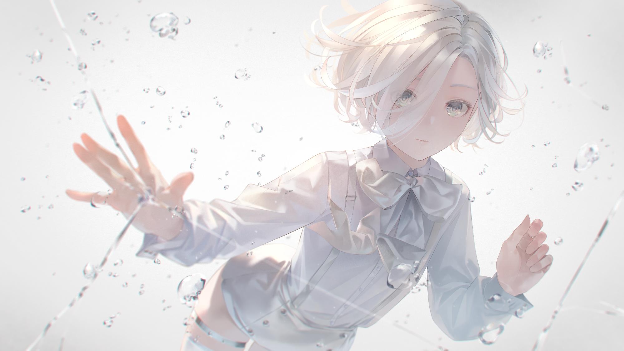 anime girls, white hair, white eyes ...