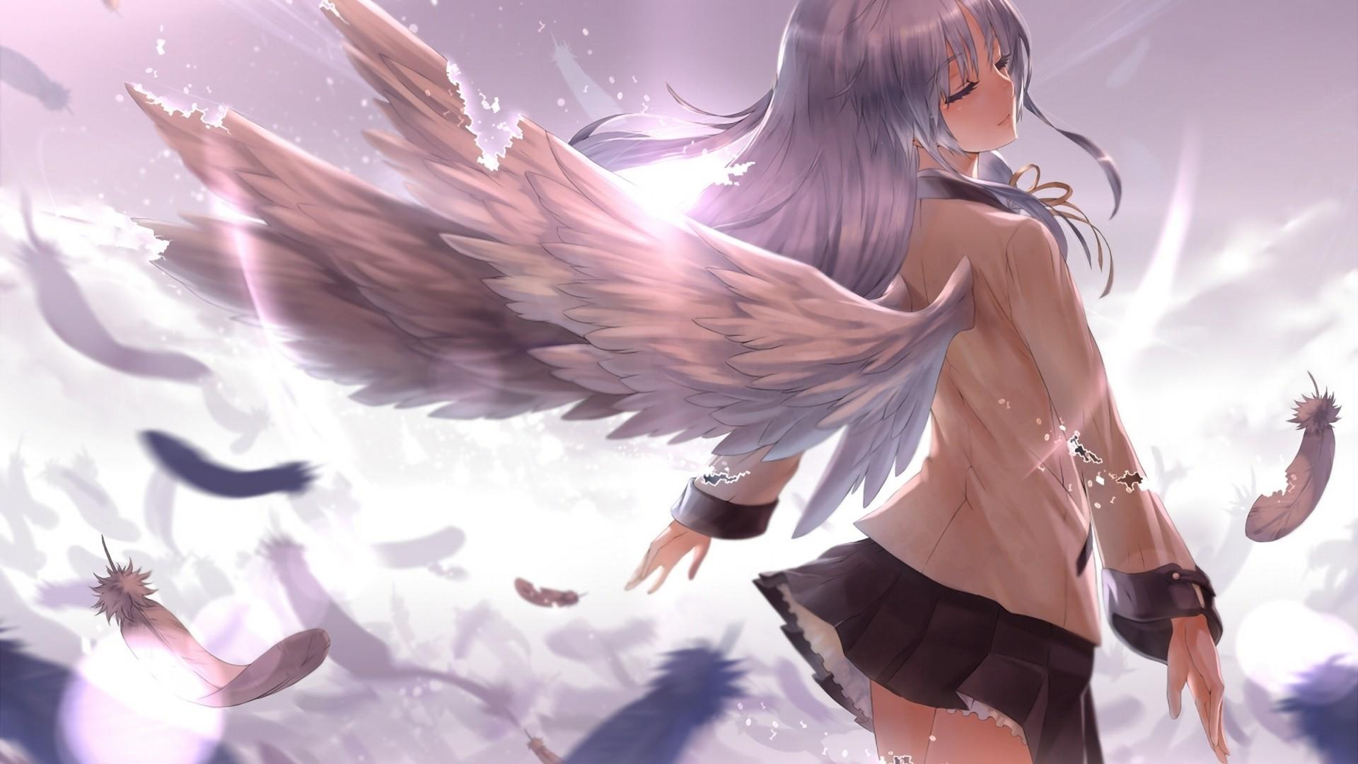 デスクトップ壁紙 アニメの女の子 翼 天使 エンジェルビーツ