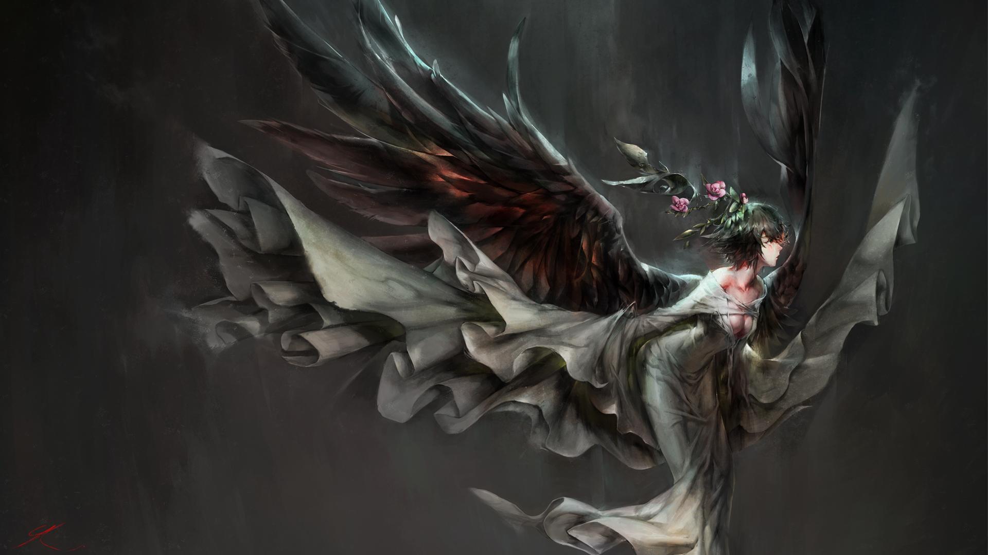 デスクトップ壁紙 アニメの女の子 悪魔 神話 天使の翼 闇
