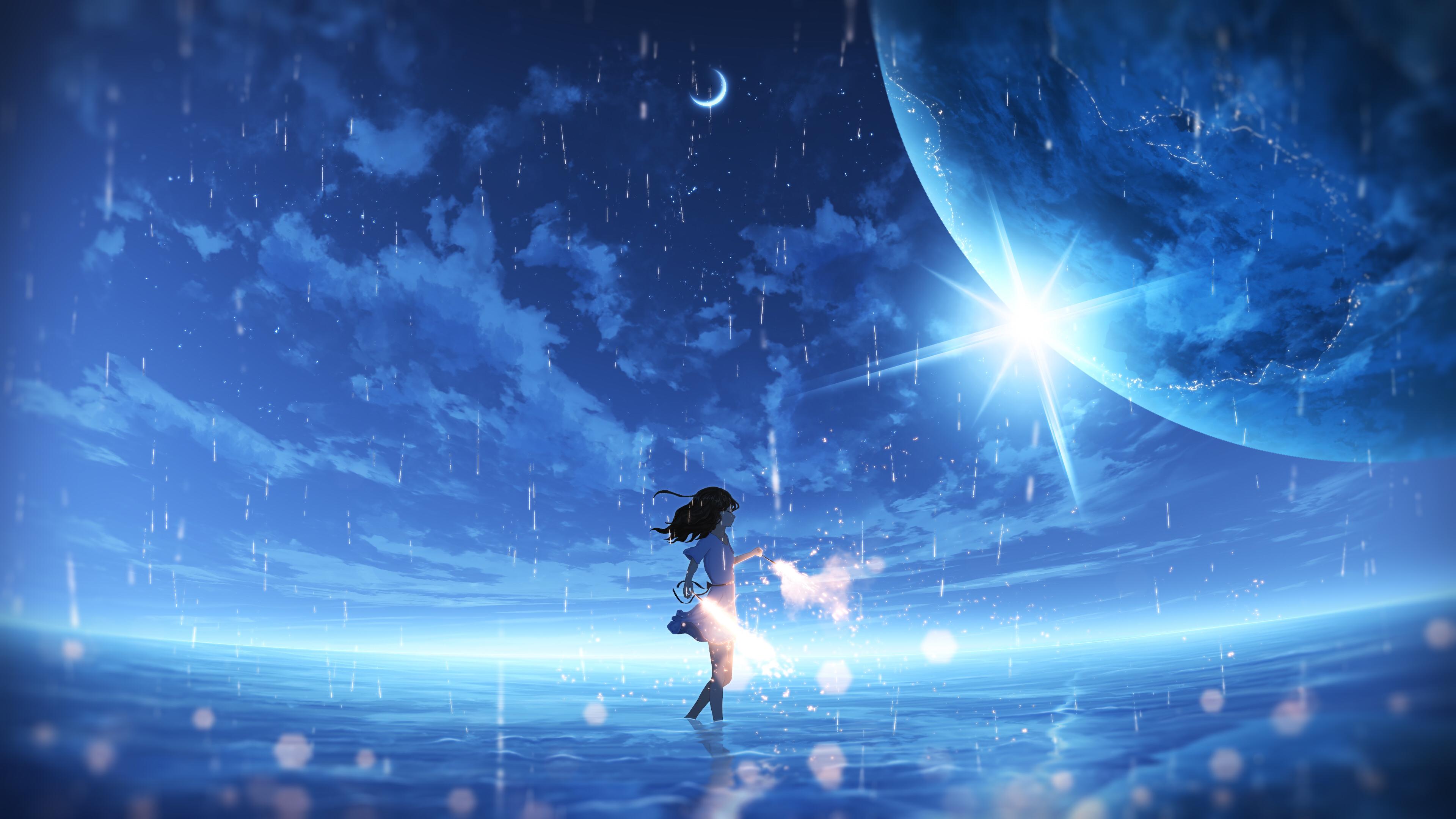 デスクトップ壁紙 アニメの女の子 女性 ファンタジーガール デジタルアート アートワーク 図 環境 コンセプトアート 風景 空 Skyscape 水 海 ファンタジーアート 惑星 青 雲 自然 屋外 花火 月 太陽 日光 ドリームスケープ 雨 反射 ウィンド