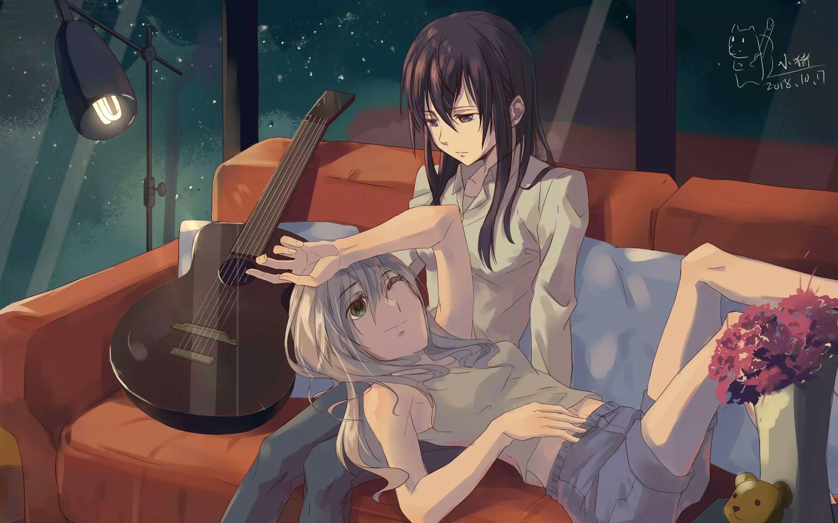 Wallpaper Anime Girls Yuri Citrus Manga Long Hair Dark Hair Purple Eyes Guitar 2700x1687 Eko 1775021 Hd Wallpapers Wallhere