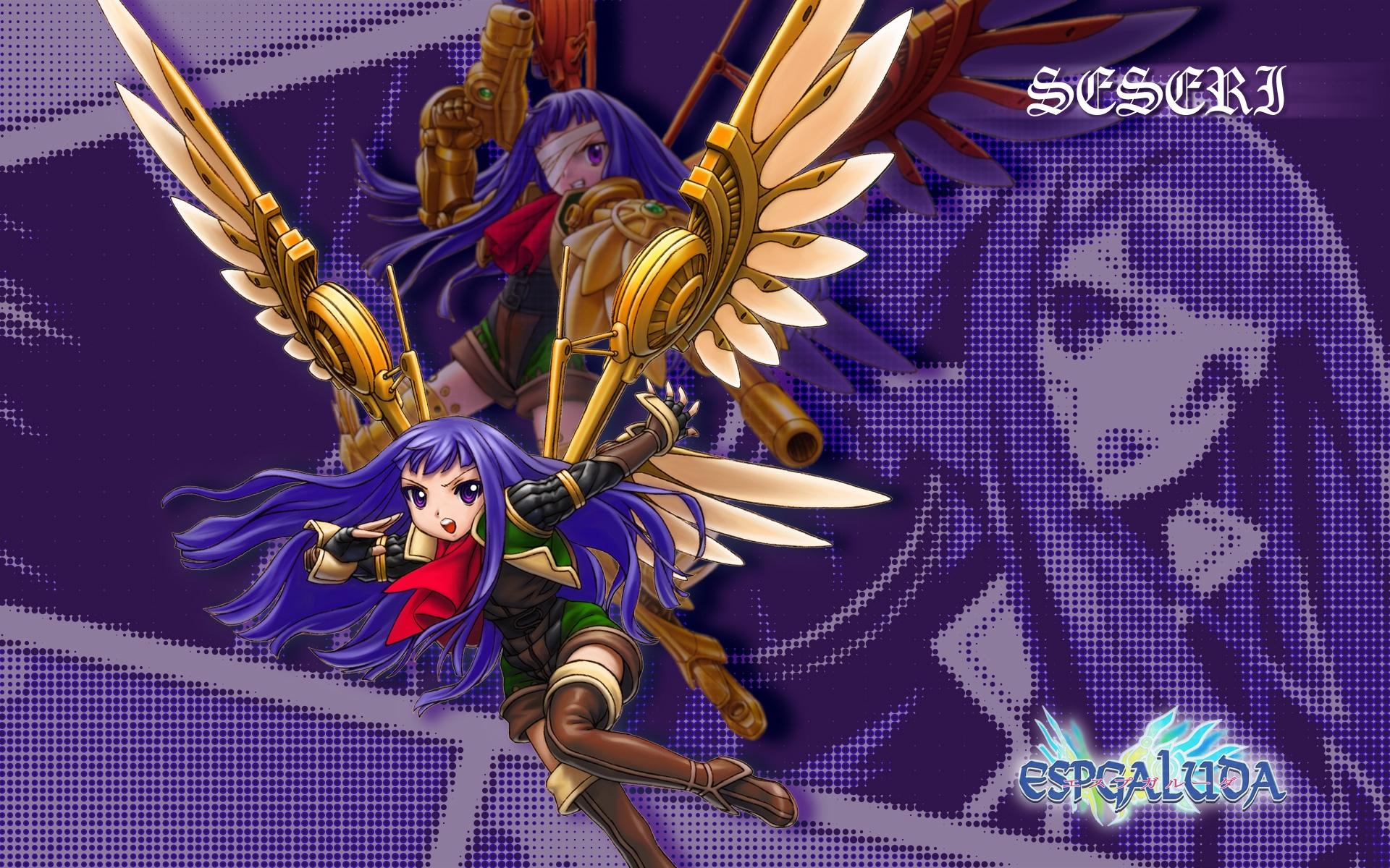 Anime blue hair wings purple mythology attack flight girl games screenshot graphics mecha figurine computer wallpaper