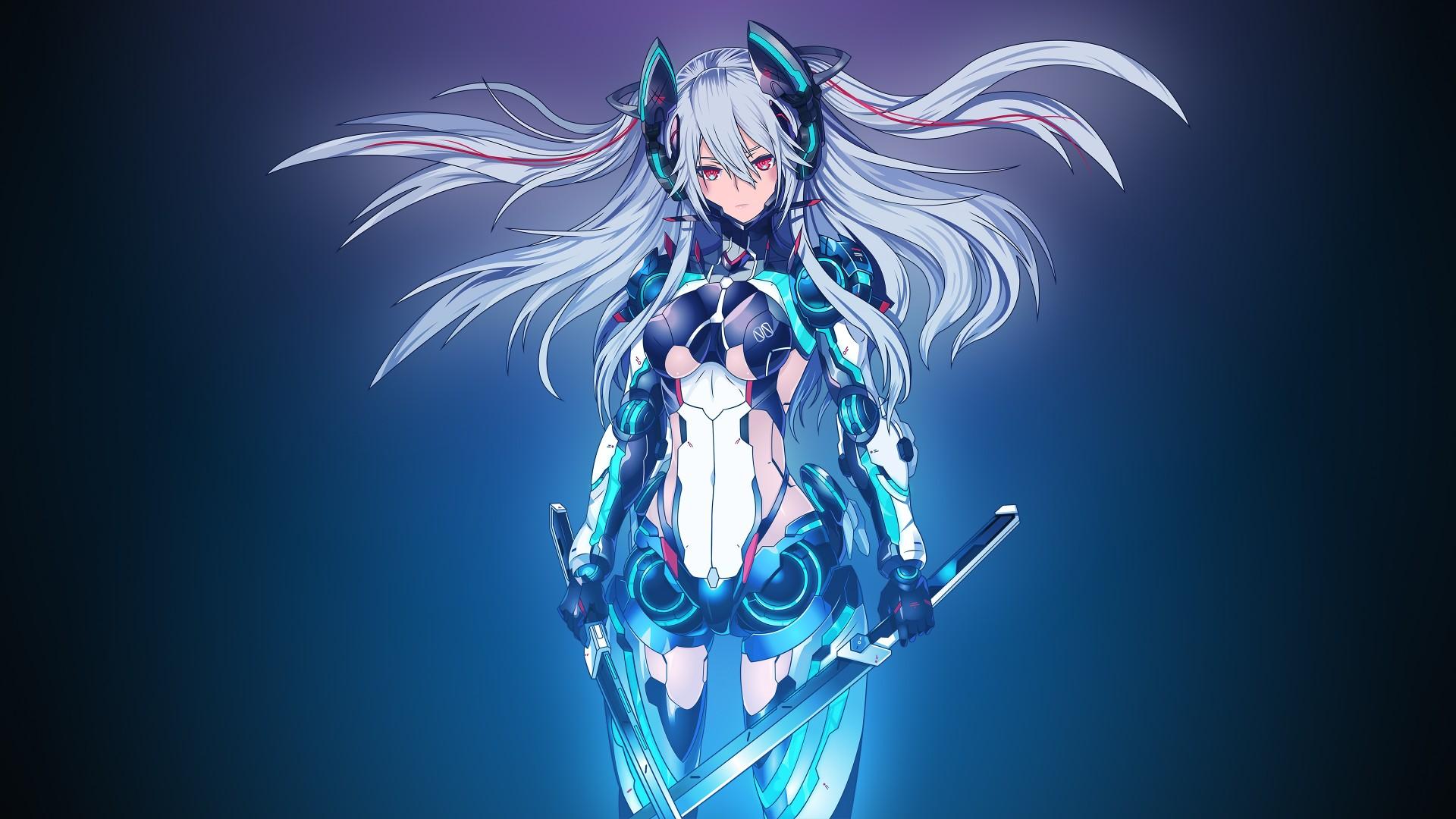 Wallpaper Anime Blue Sword Long Hair 1920x1080 Fichtner