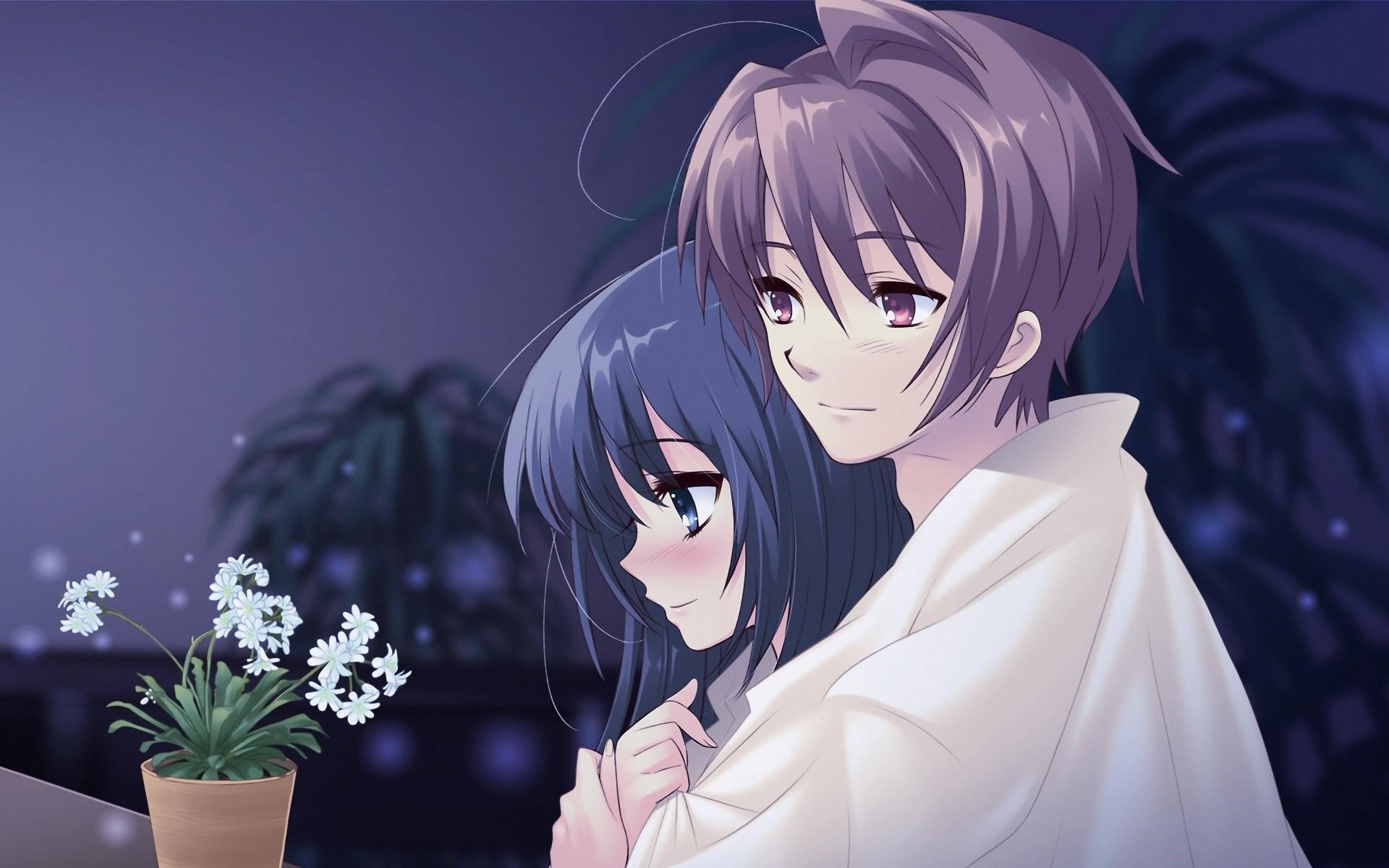 Anime Boy Girl Pot Flower Hug Tenderness