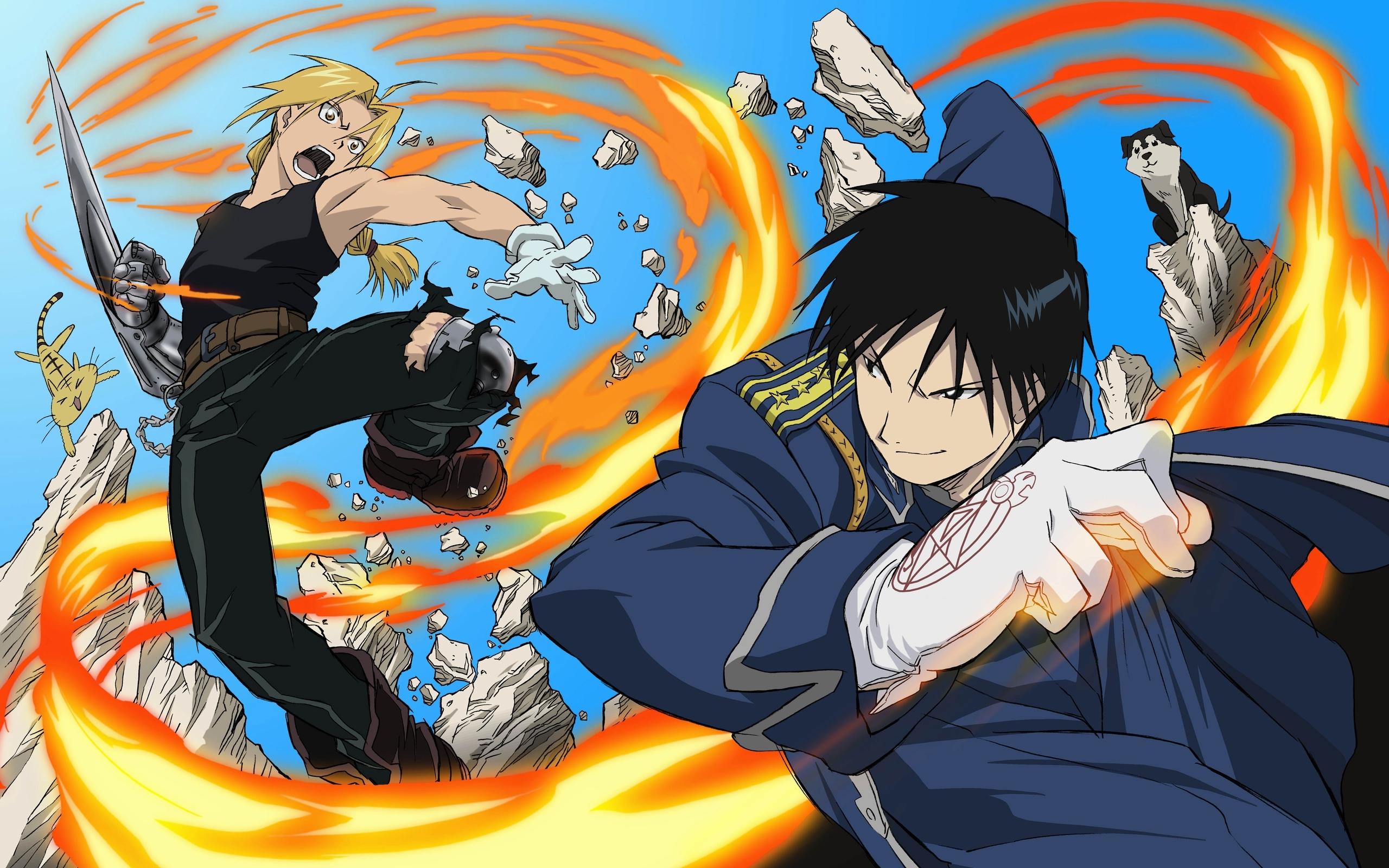 Wallpaper Anime Boys Fight Fire Jump 2560x1600 1094209 Hd Wallpapers Wallhere