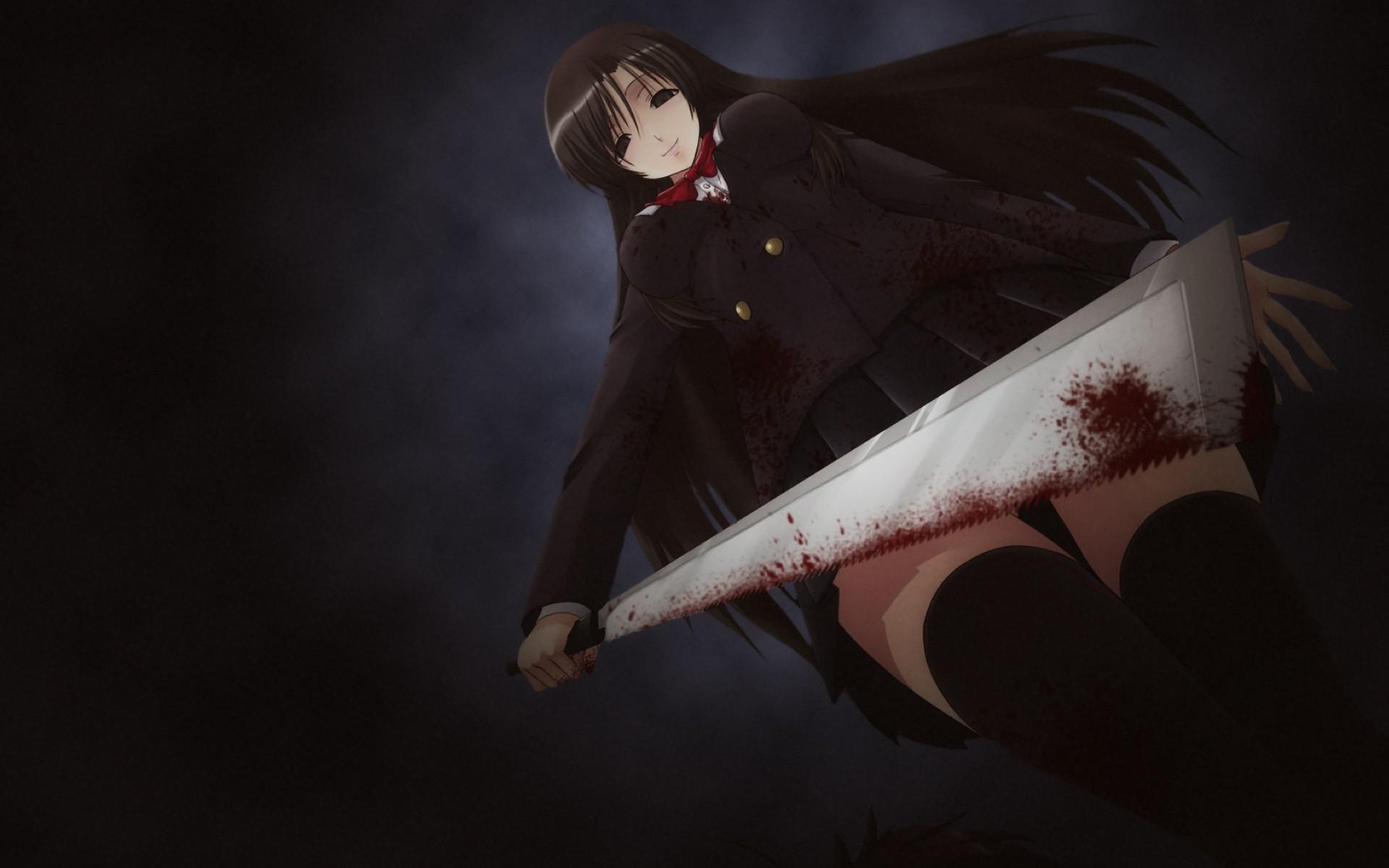 Wallpaper Anime Brunette Blood Girl Smile Darkness Wing