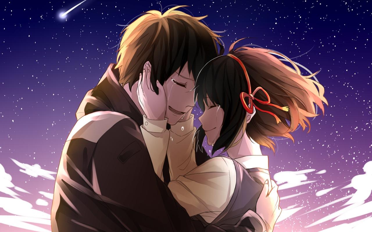 Wallpaper Anime Couple Crying Your Name Kimi No Na Wa 1280x800