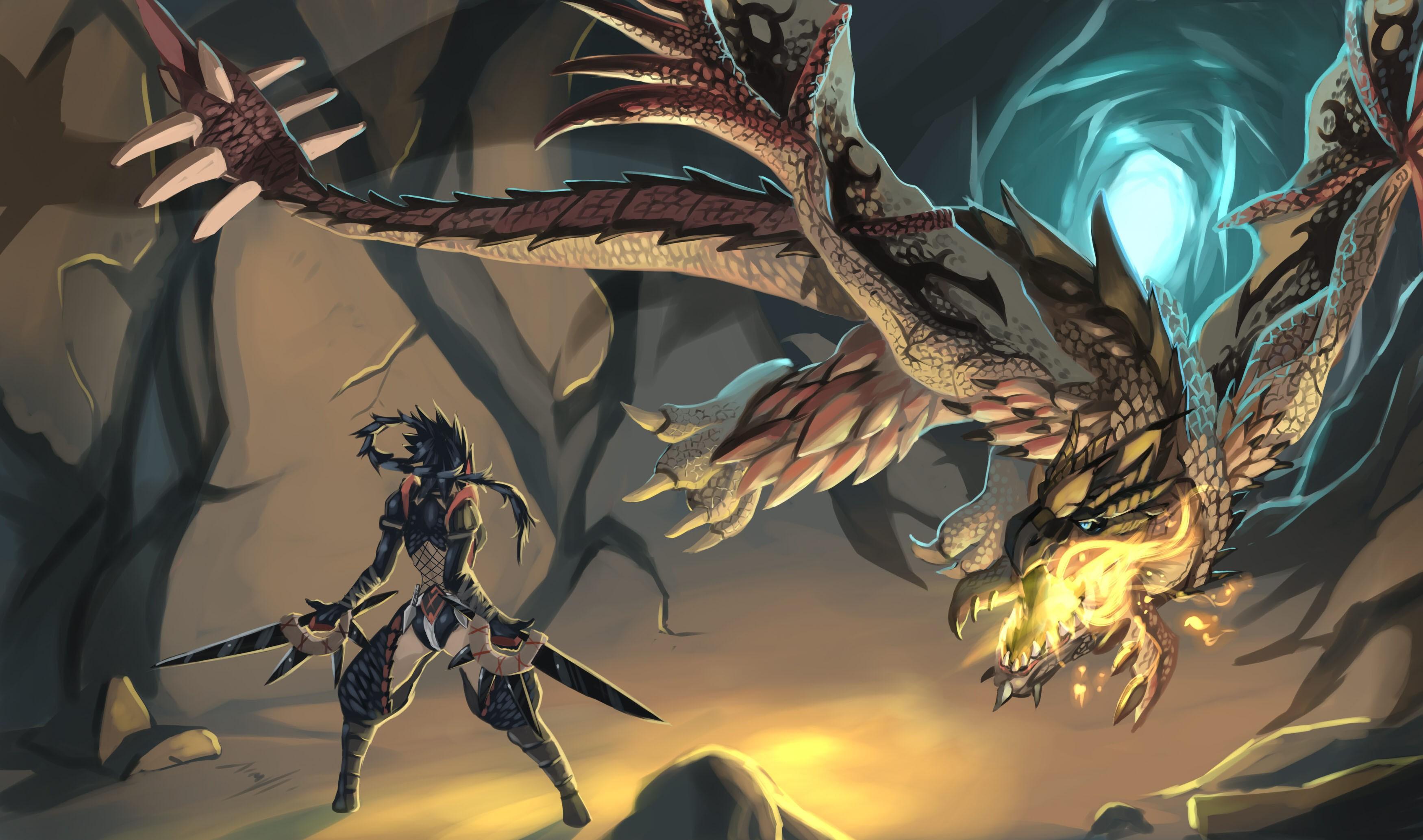 Wallpaper Anime Dragon Monster Hunter Comics Mythology