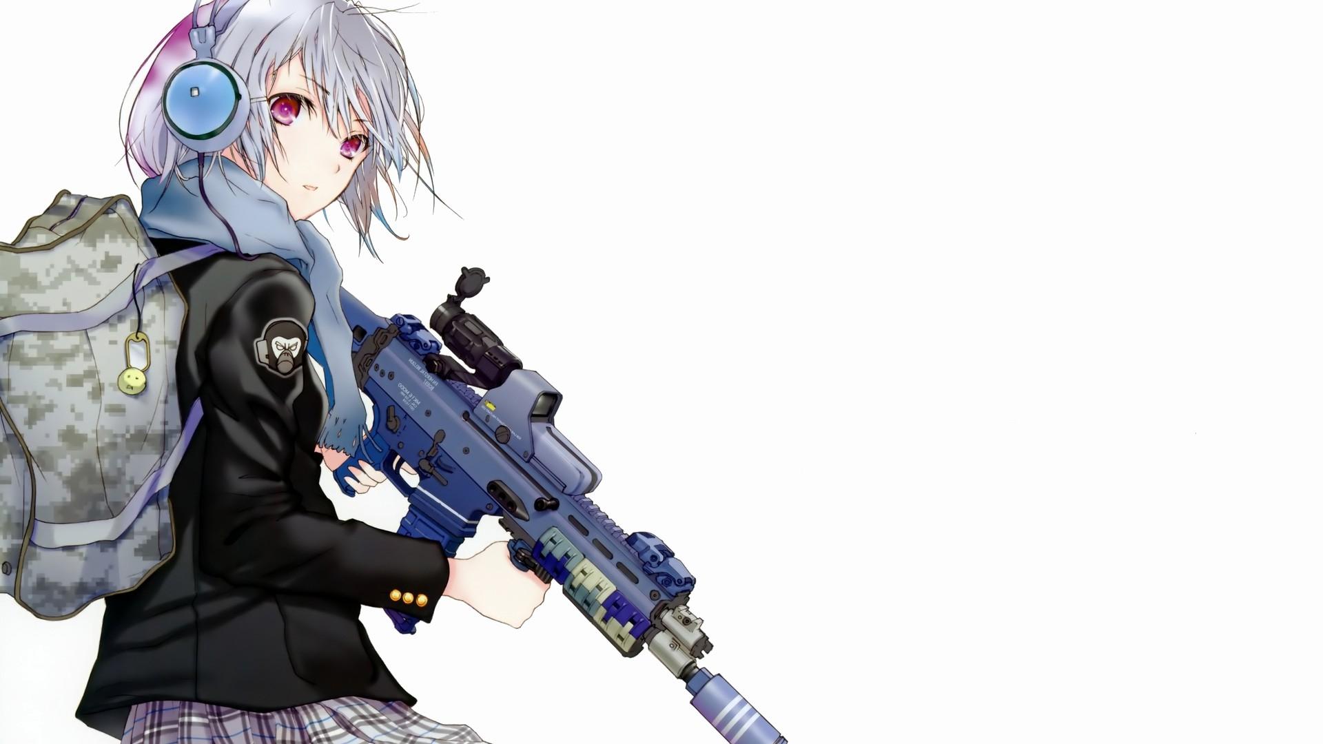 Wallpaper : Anime, Girl, Attitude, Backpack, Weapons