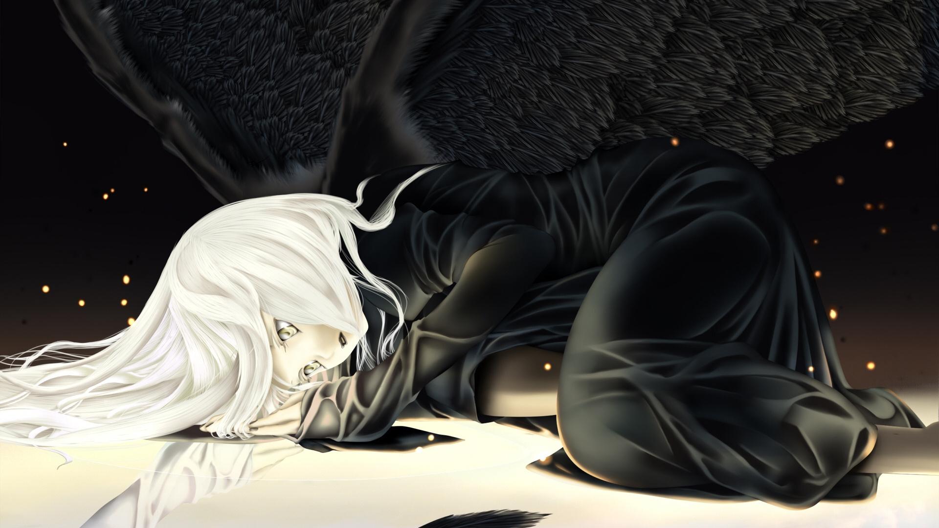 Wallpaper Anime Girl Blond Wing Sadness Darkness 1920x1080