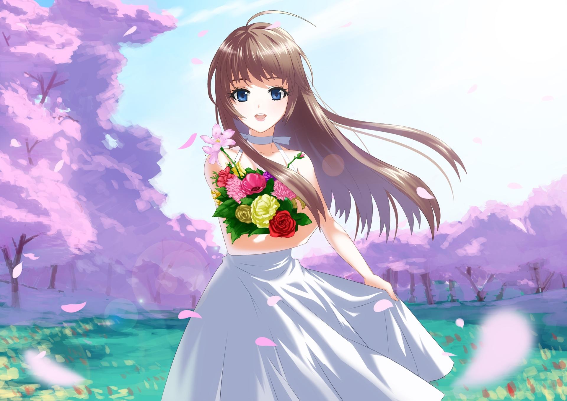 wallpaper : anime, girl, brunette, flowers, bouquet, joy 1920x1358