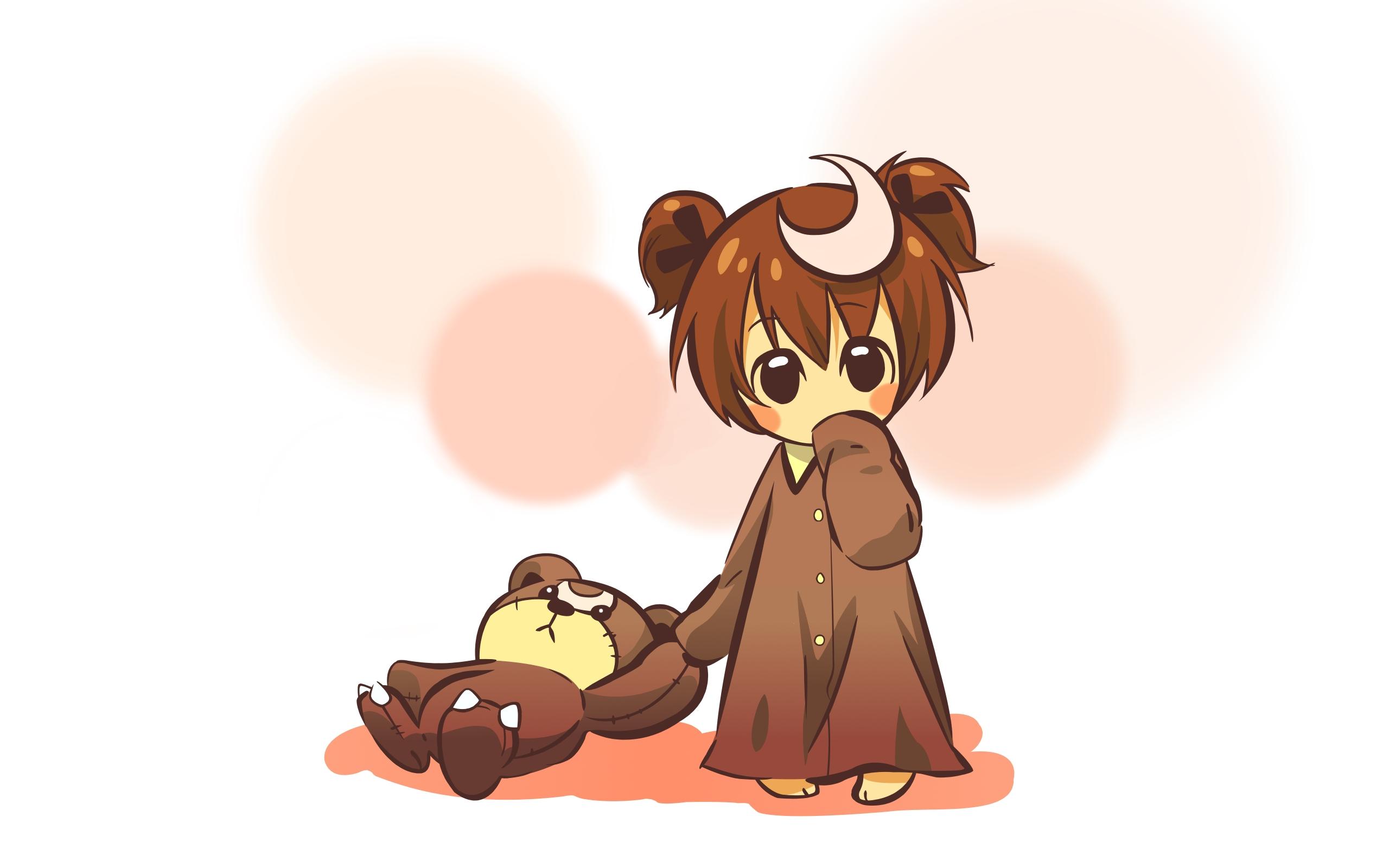 wallpaper : anime, girl, cute, toy, bear, background 2560x1600