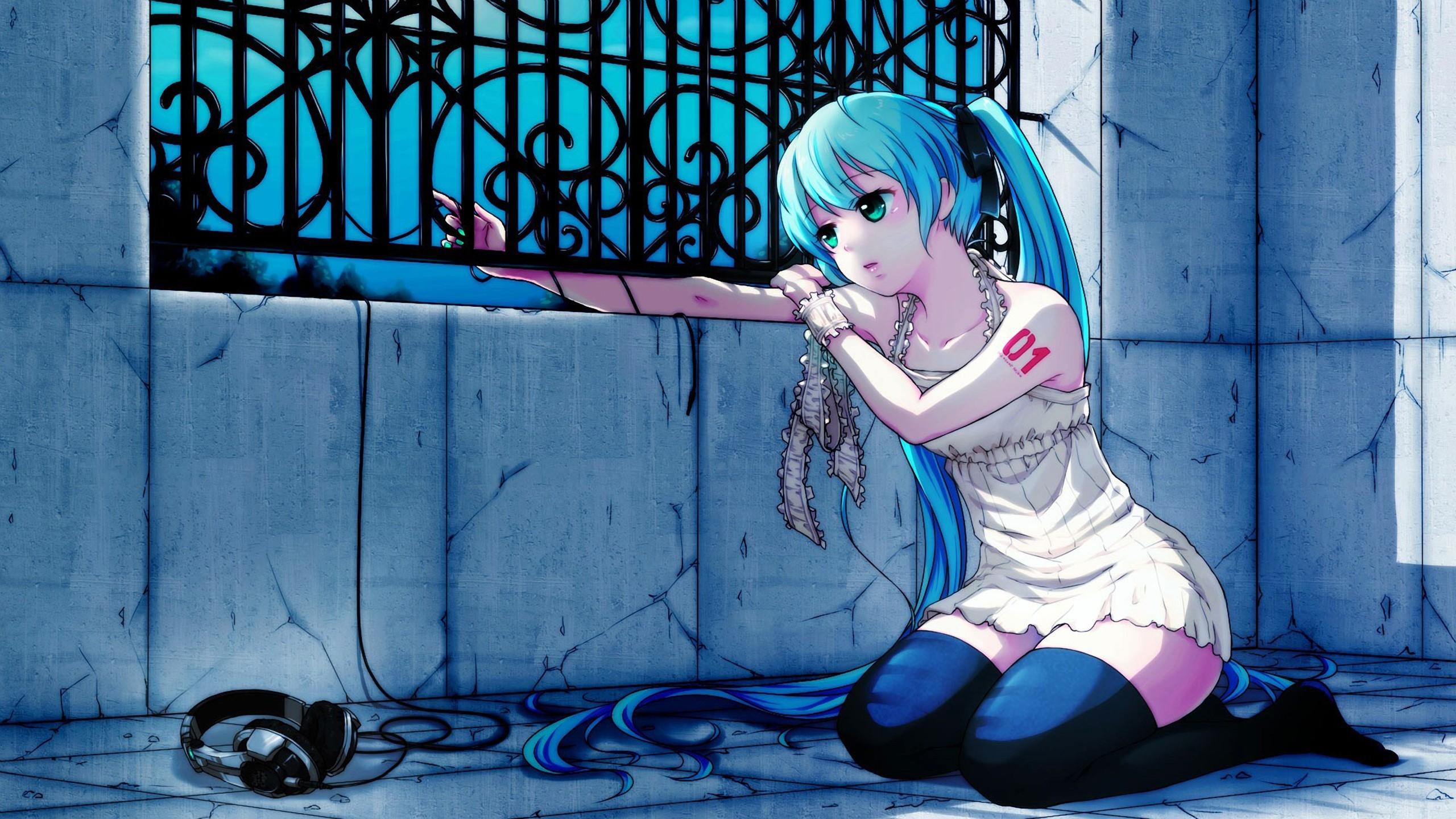 Anime Girl Hair Headphones Sadness Fence