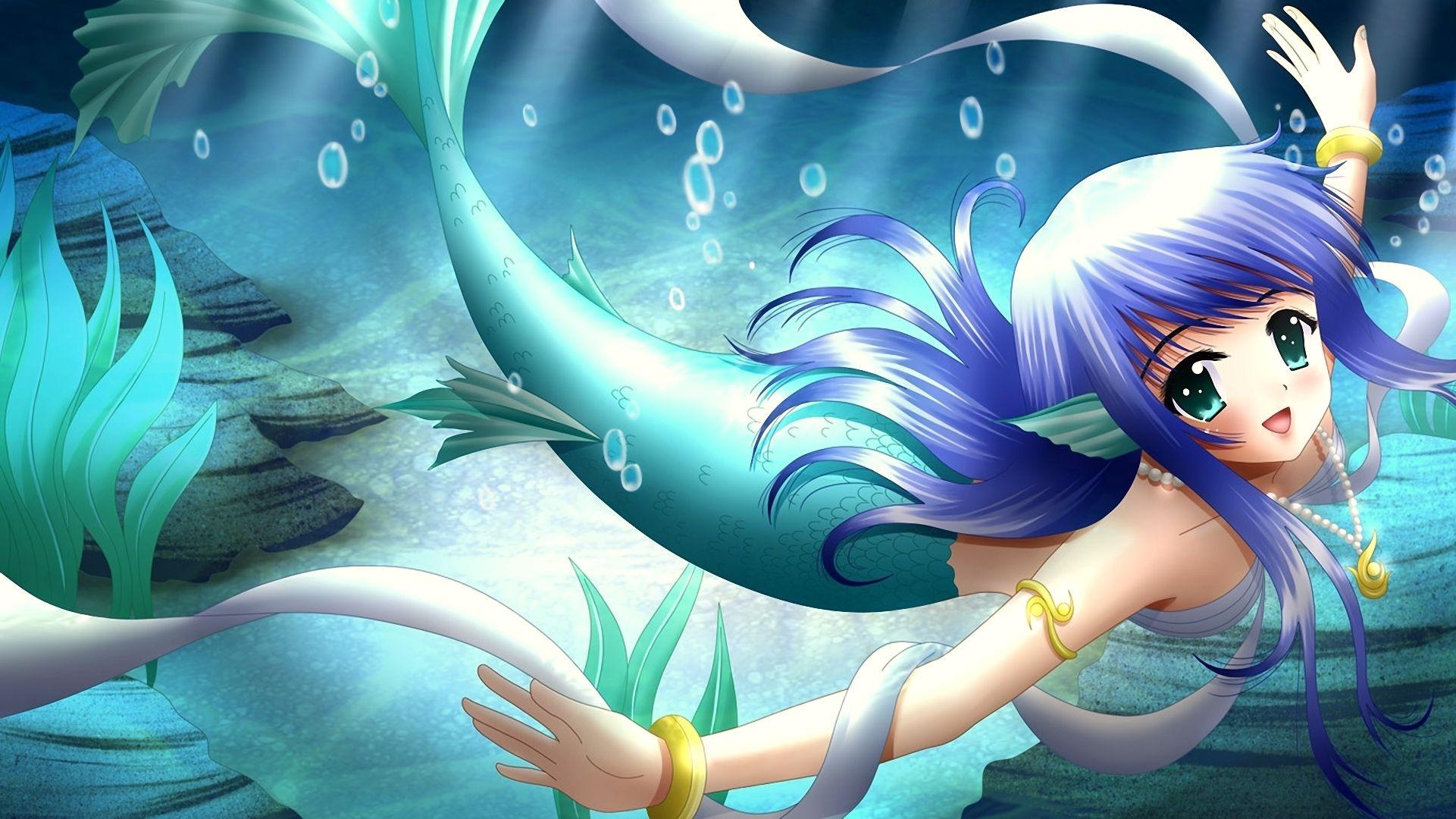 anime girl mermaid tail smile