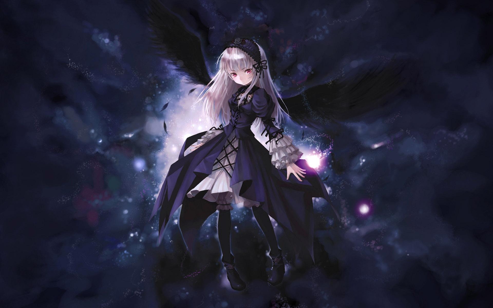 Anime girl wings flying black