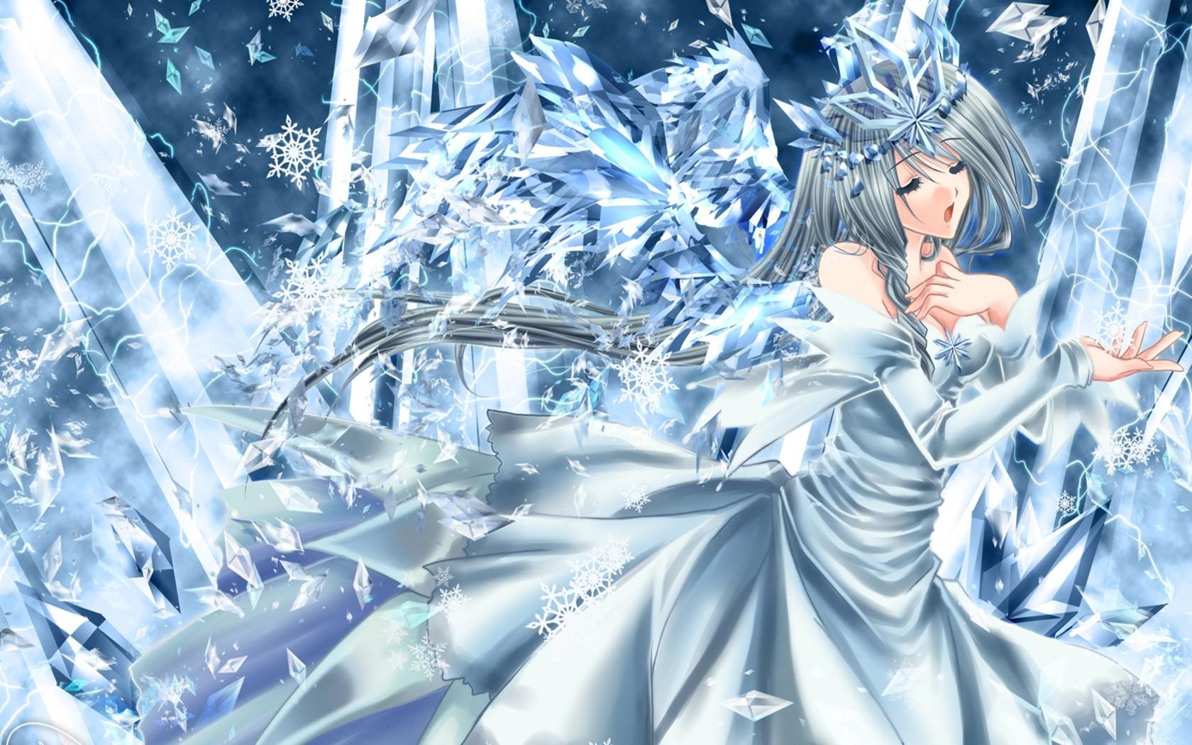 Anime girl winter cold dress