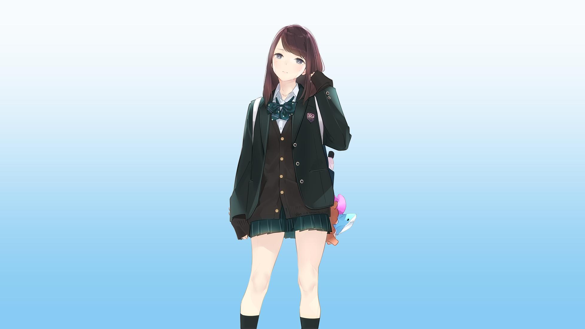 デスクトップ壁紙 アニメの女の子 元の文字 女子高生 学生服
