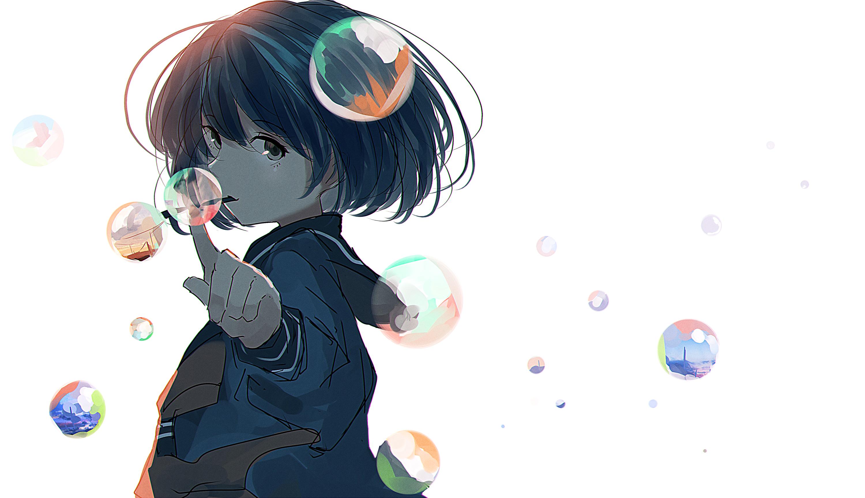 Wallpaper Anime Girls Short Hair School Uniform Bubble White Background 3000x1729 Jameslarson 1713631 Hd Wallpapers Wallhere