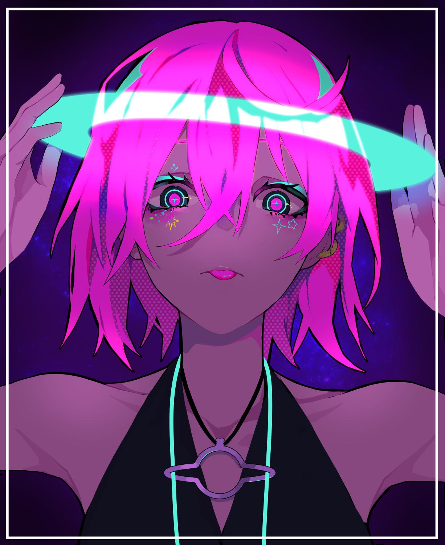 Wallpaper : anime girls, pink hair, shoulder length hair ...