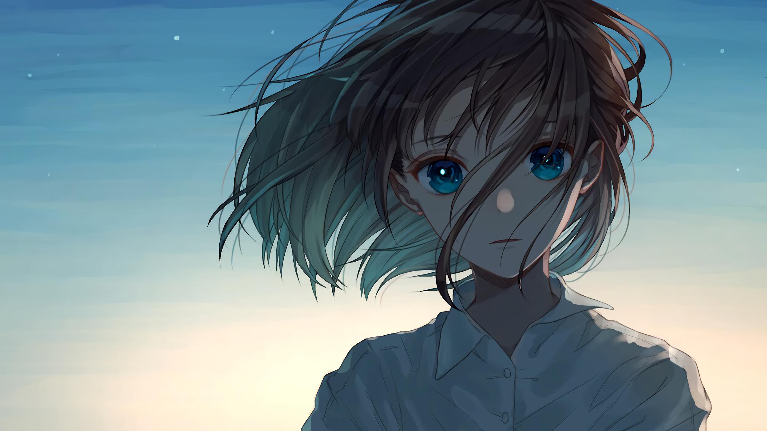 Wallpaper Anime Girls Short Hair Blue Eyes 2560x1440 Starkalakar 1873819 Hd Wallpapers Wallhere
