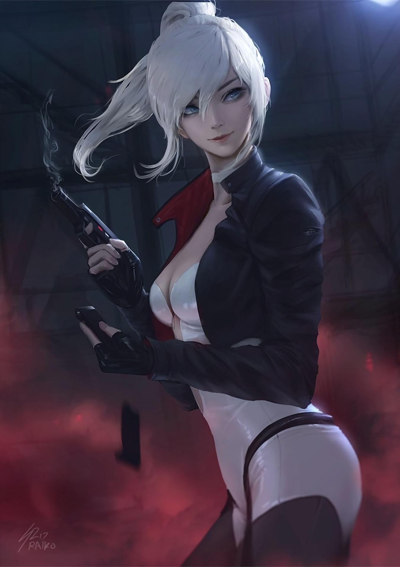 Wallpaper : anime girls, women, white hair, ponytail ...  Wallpaper : ani...