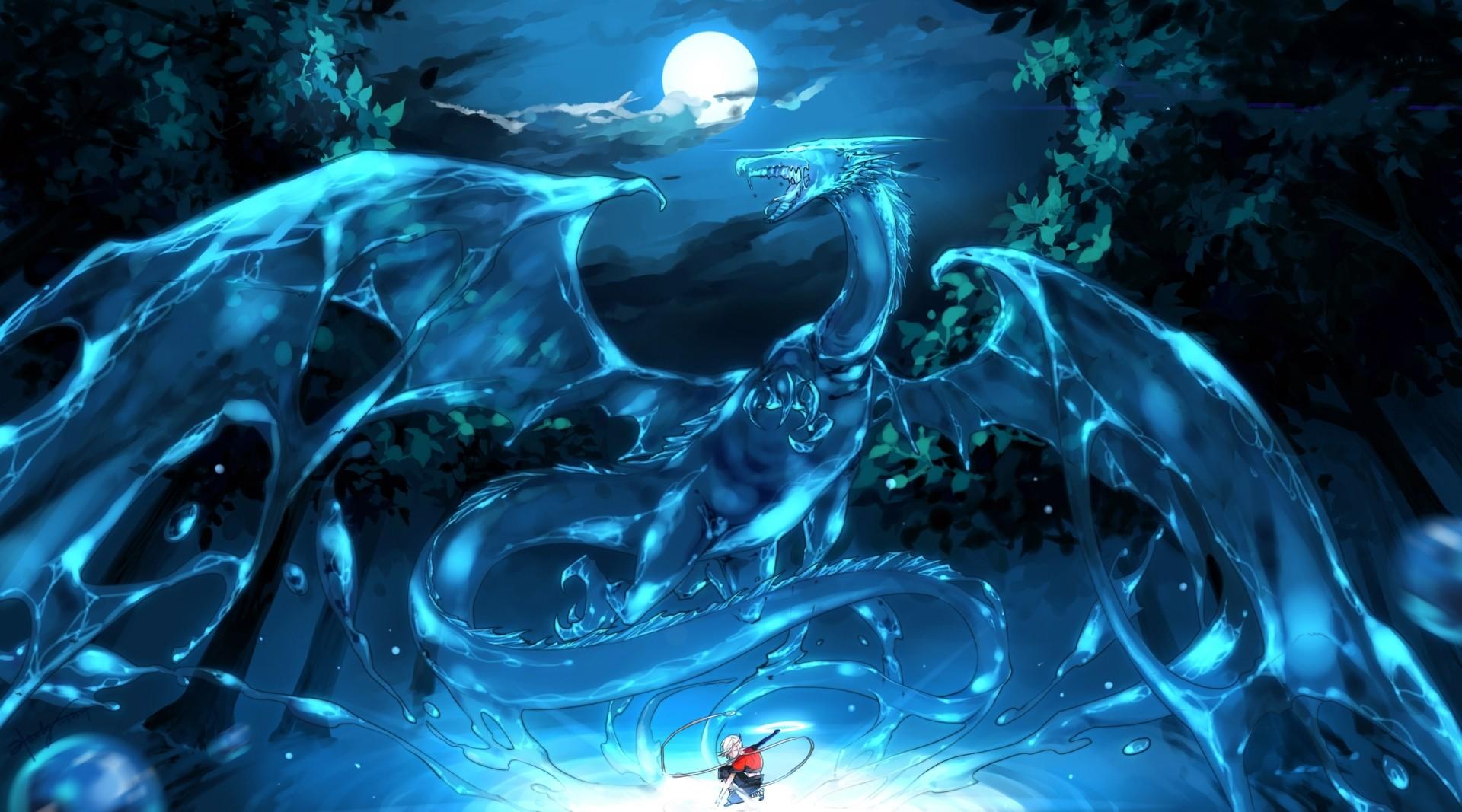 Wallpaper : anime, ice, underwater, dragon, screenshot