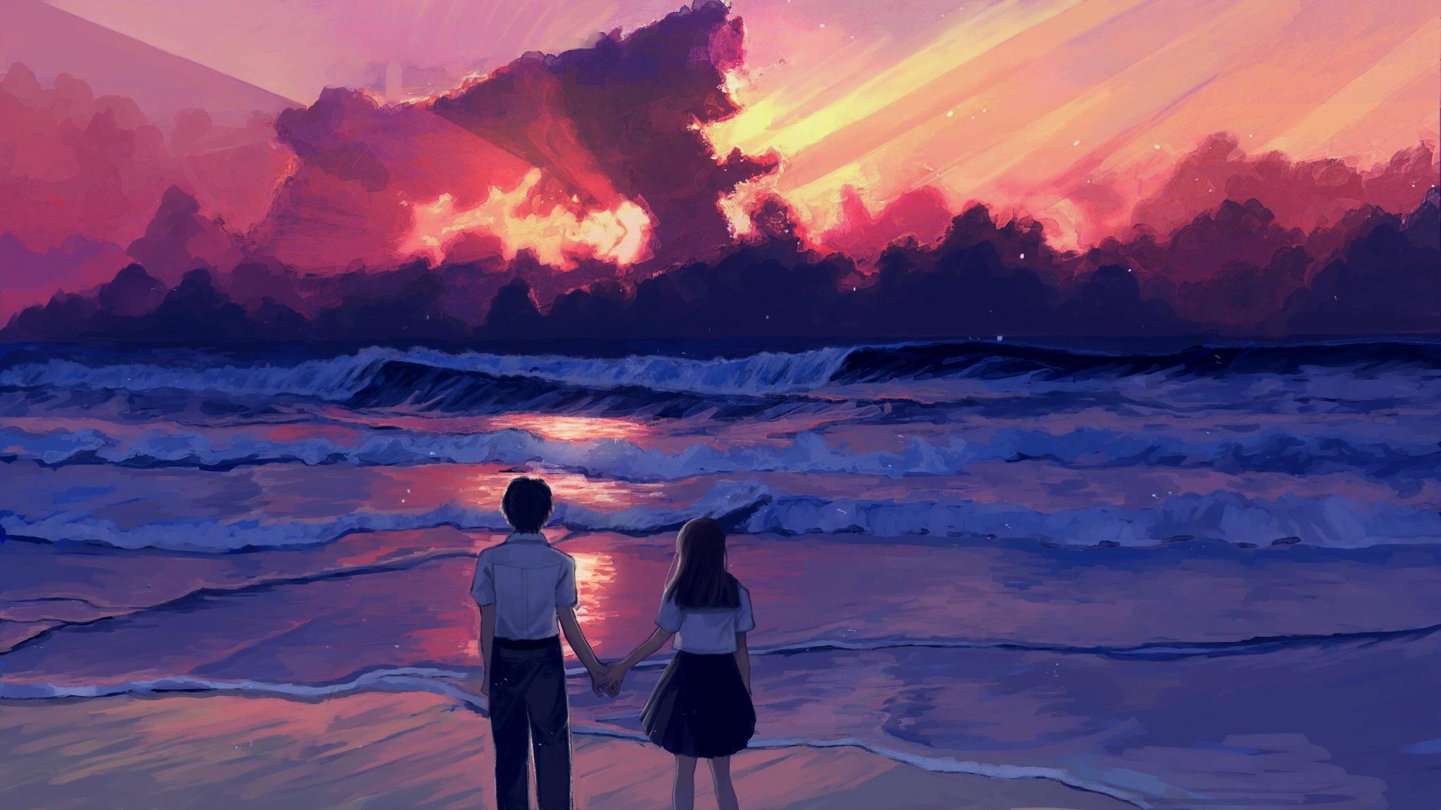 Masaüstü Anime Illüstrasyon Manzara Deniz Gün Batımı Boyama