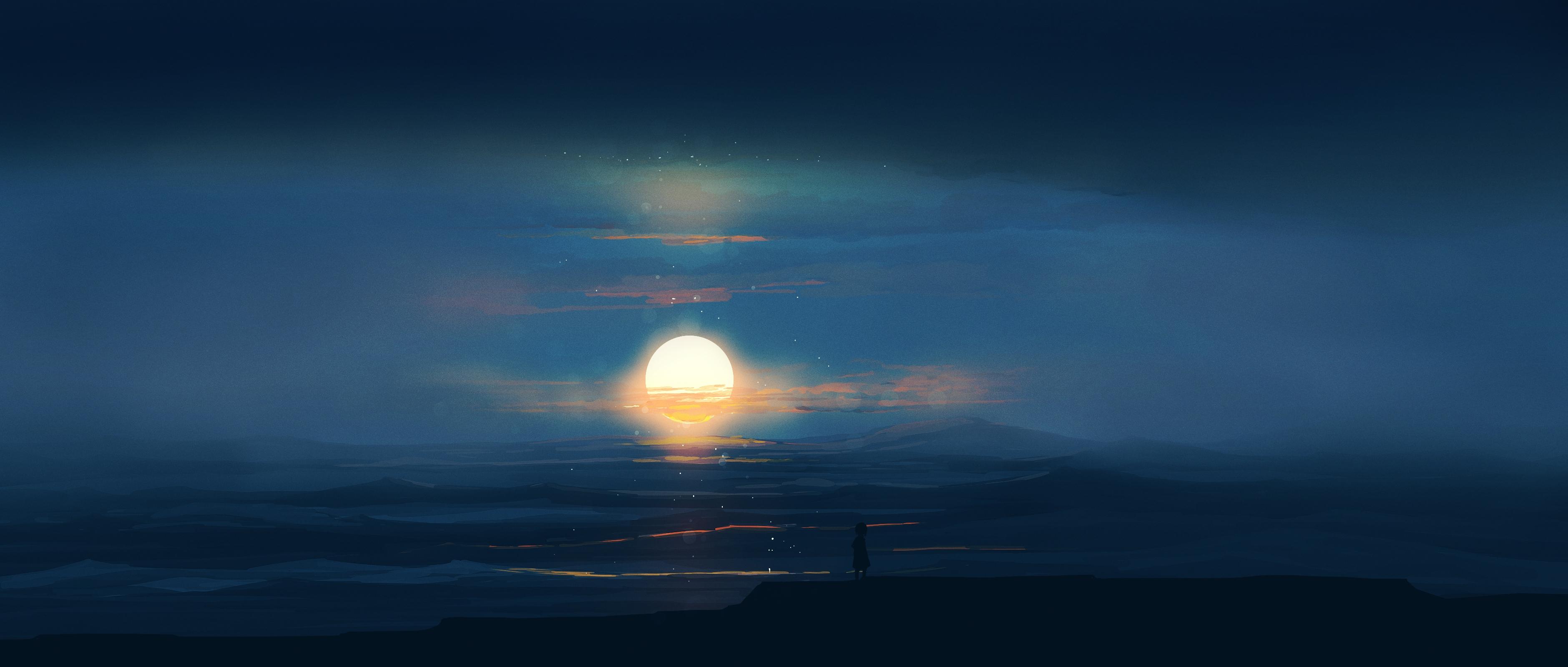 Wallpaper Anime Landscape Sun 3760x1600 Rocketizada