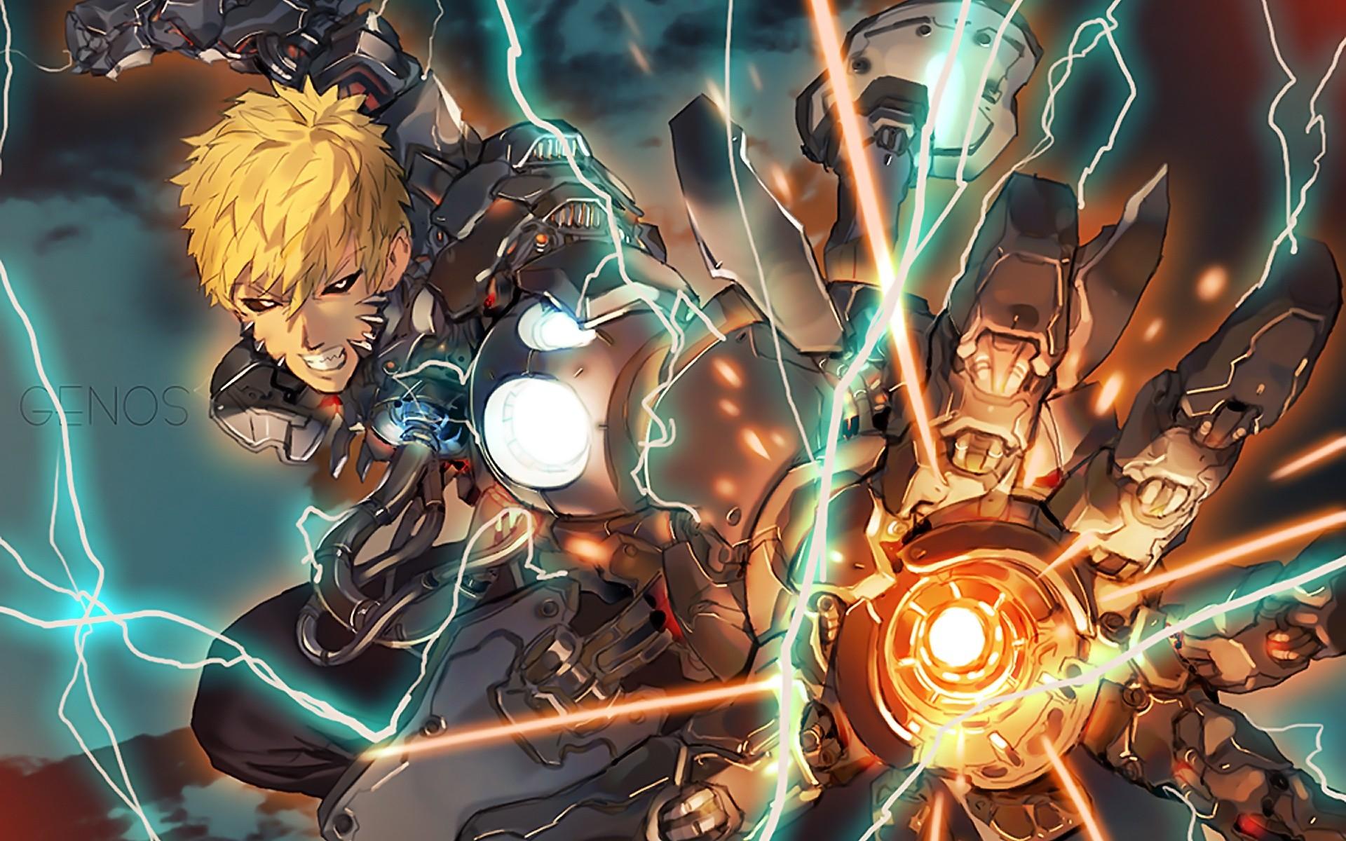 Wallpaper : anime, lightning, cyborg, machine, One Punch Man, comics, mythology, Genos, games ...