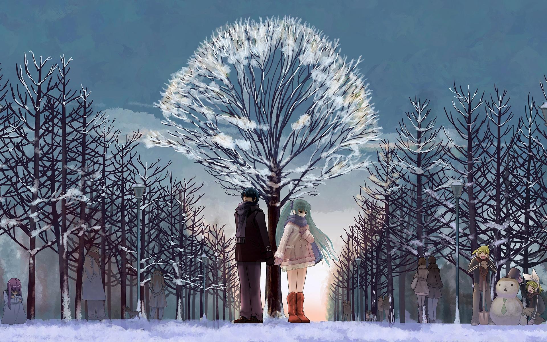 Wallpaper : Anime, Love, Sky, Snow, Winter, Branch, Ice