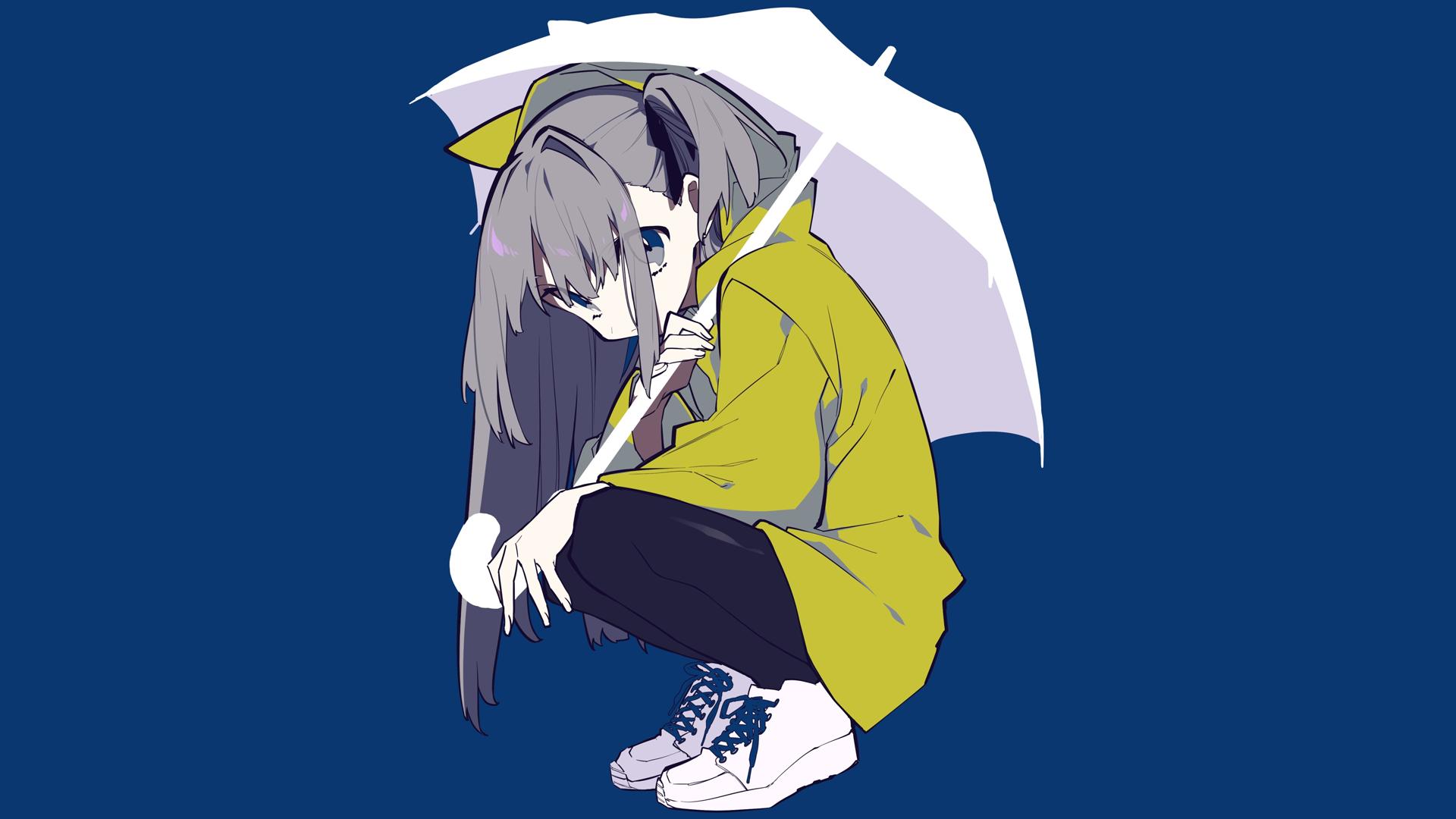 Anime Manga Girls Simple Background Blue Umbrella Grey Hair