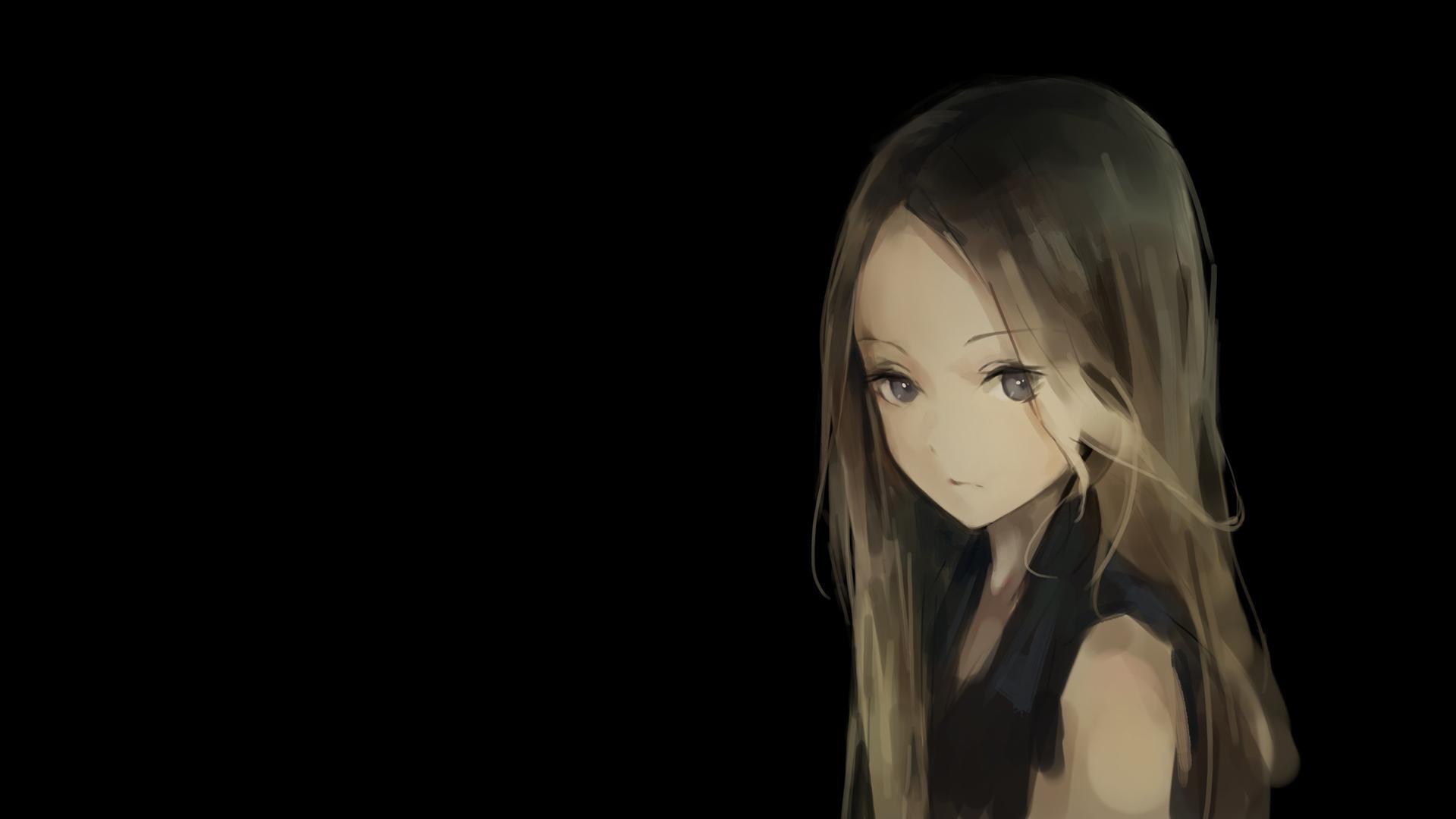 Anime Manga Anime Girls Simple Background Minimalism Blonde Black Background