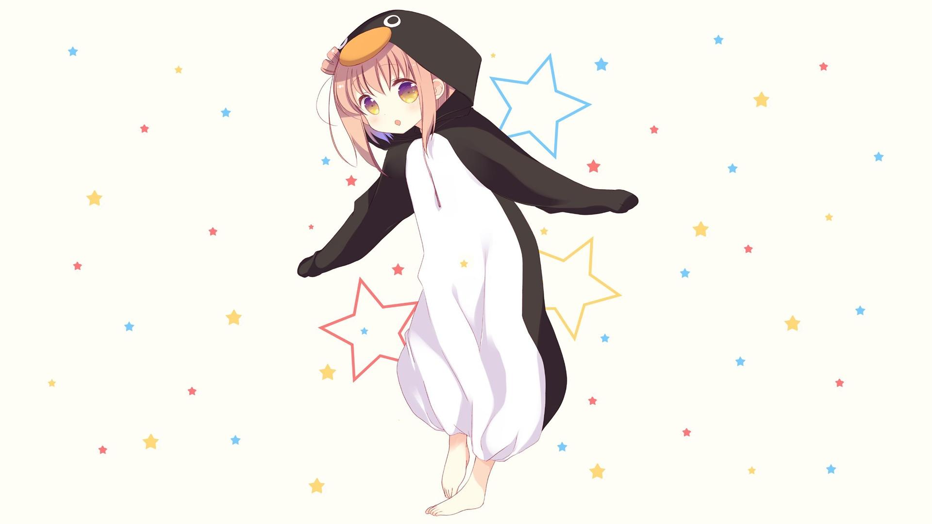 Sfondi Manga Anime Girls Sfondo Semplice Stelle Pinguini