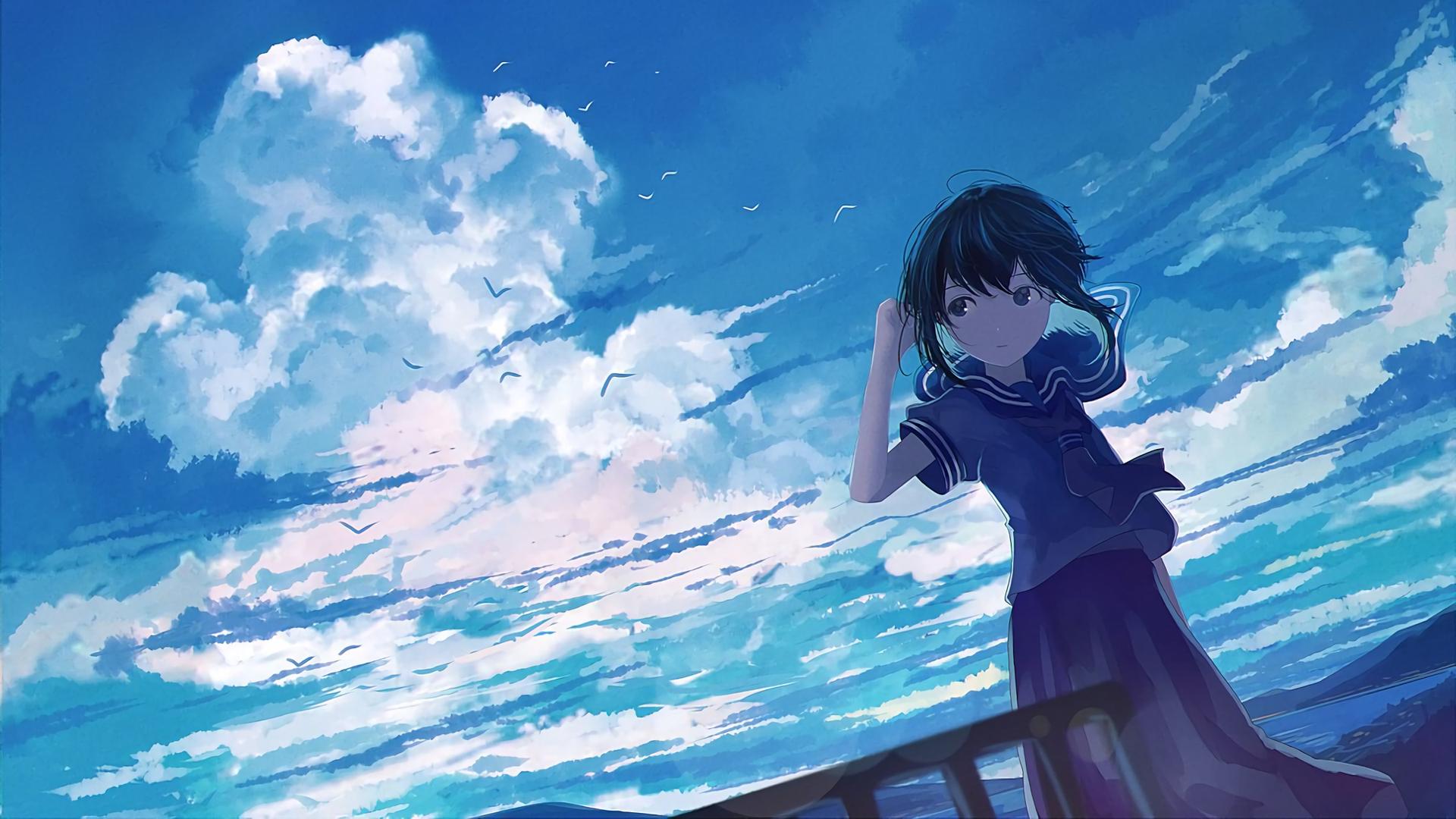 デスクトップ壁紙 マンガ アニメの女の子 空 青 雲 女子高生
