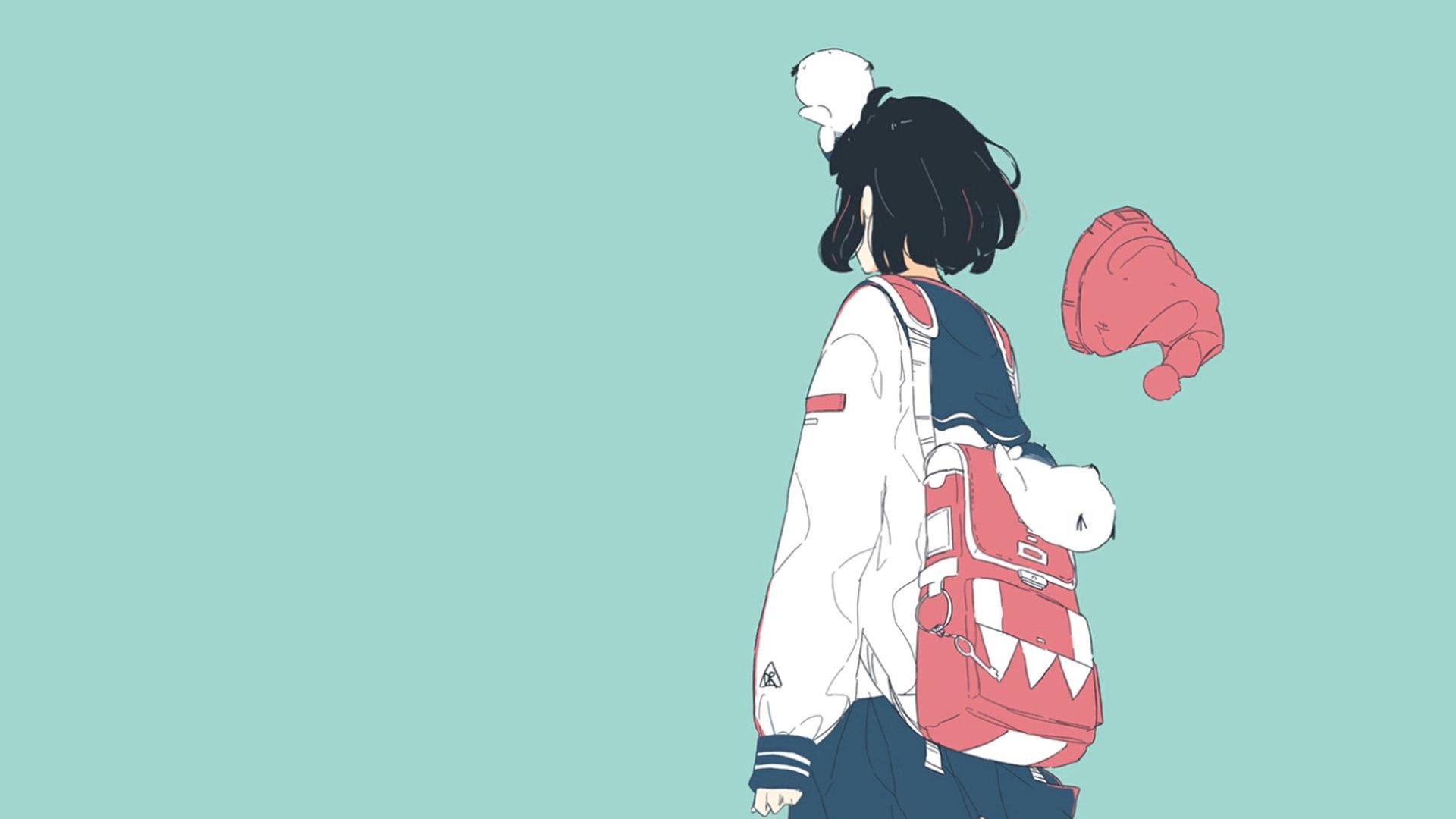 Anime Manga Anime Girls Turquoise Turquoise Background Simple Background Sailor Uniform