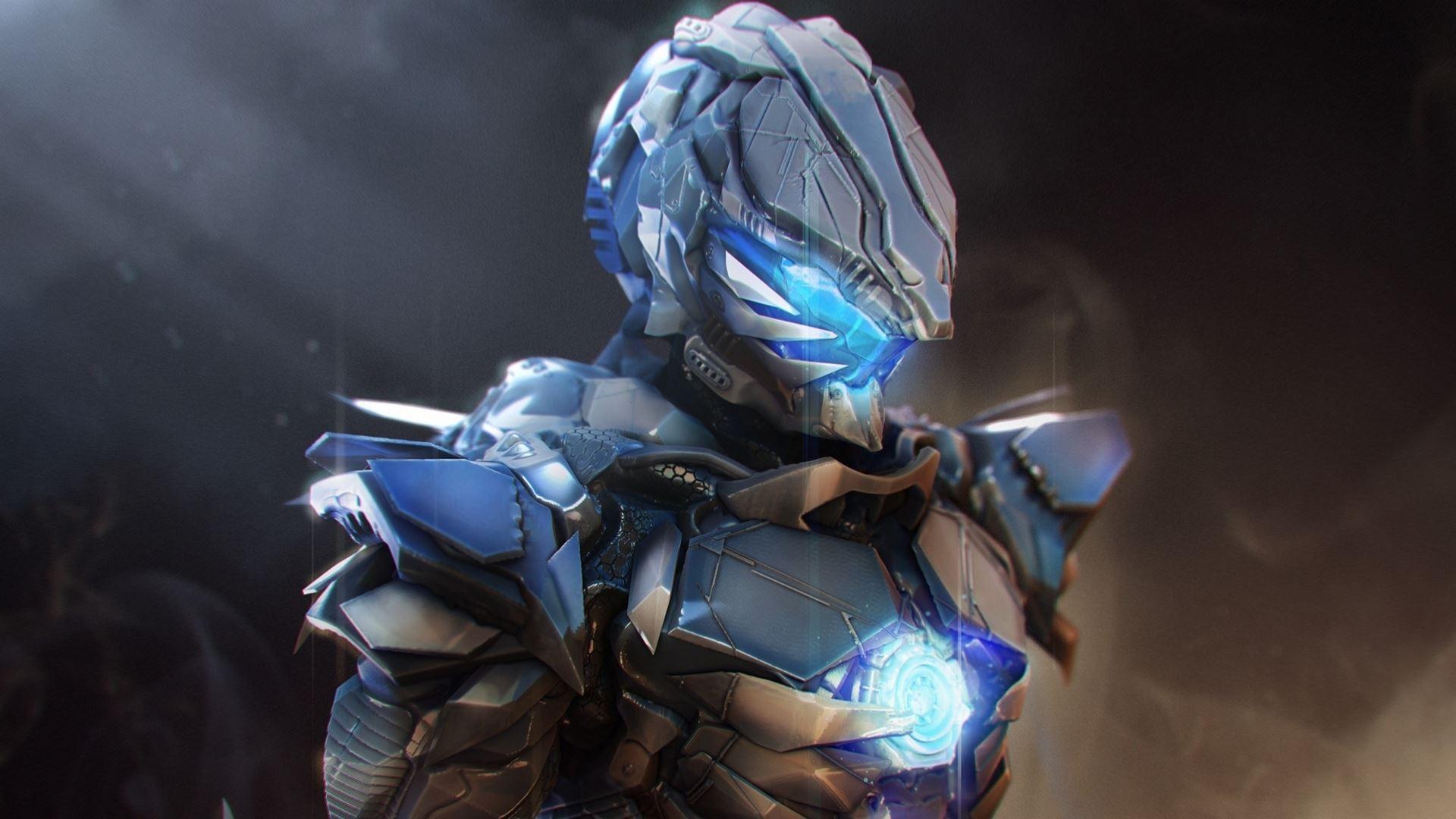 wallpaper anime robot blue warrior toy machine screenshot