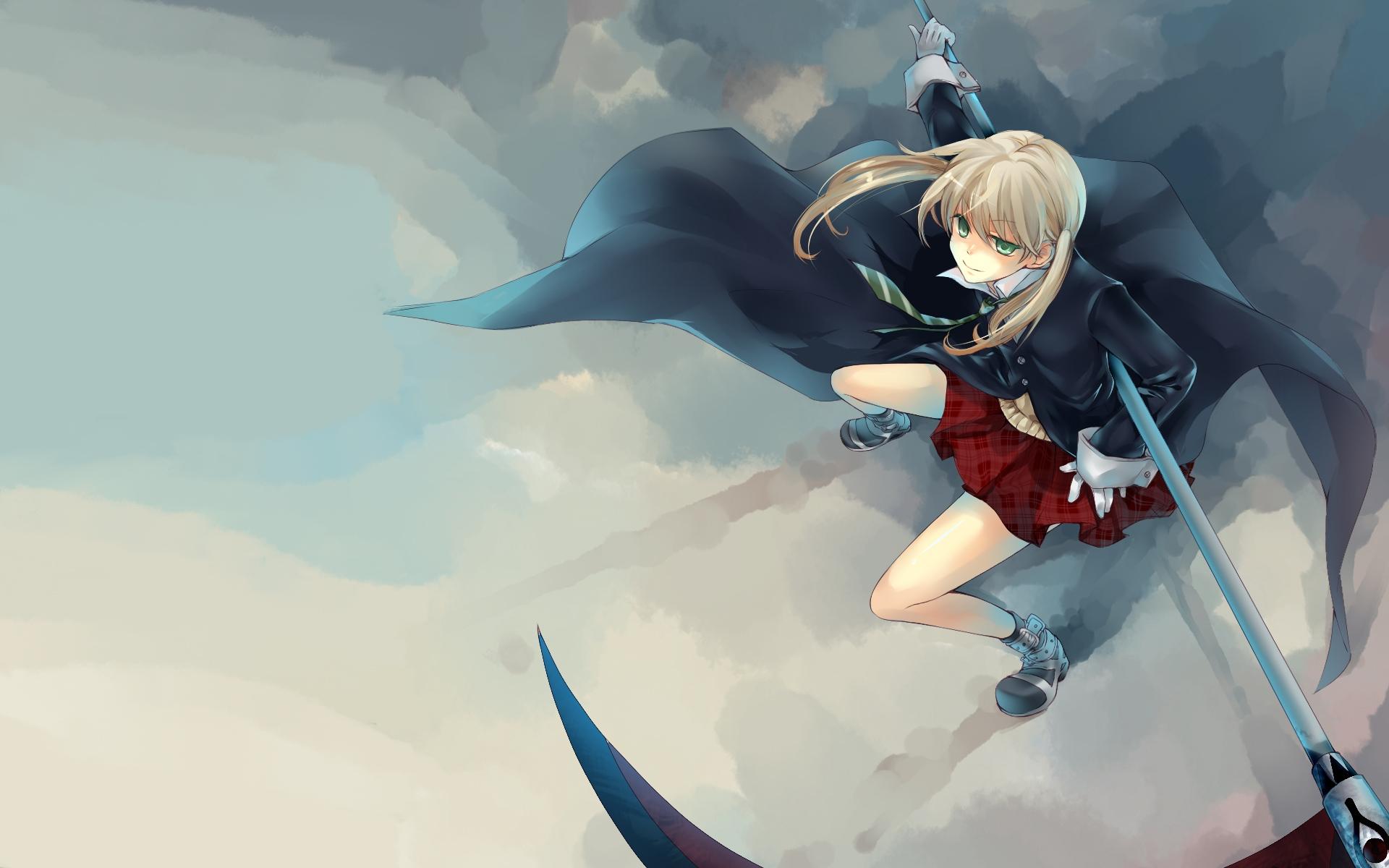 Wallpaper Anime Sky Air Girl Coat Commitment Computer