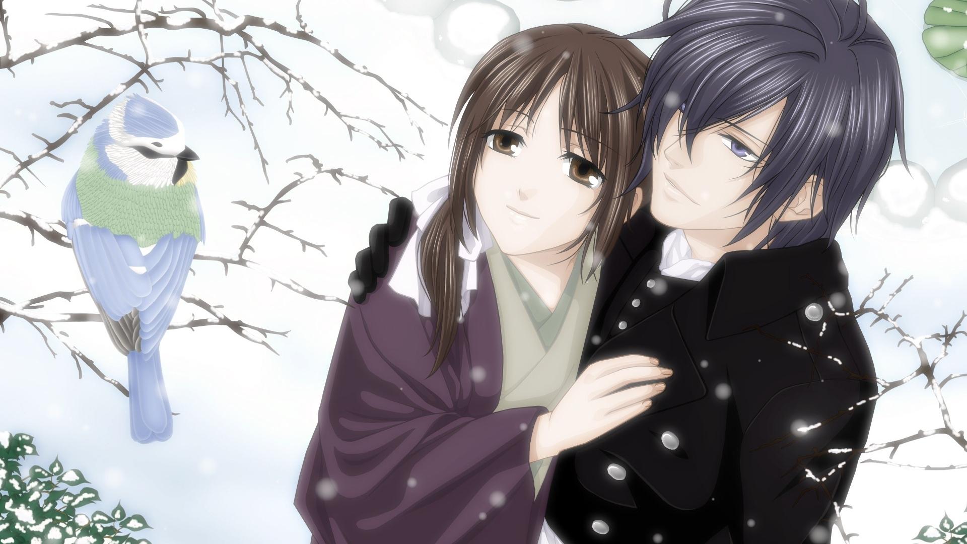 Wallpaper : anime, snow, winter, black hair, couple ...