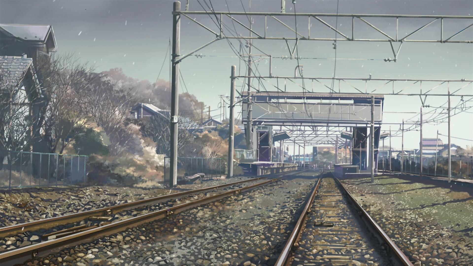 Anime Vehicle Train Train Station 5 Centimeters Per Second Makoto Shinkai Transport Locomotive Electricity Track Public